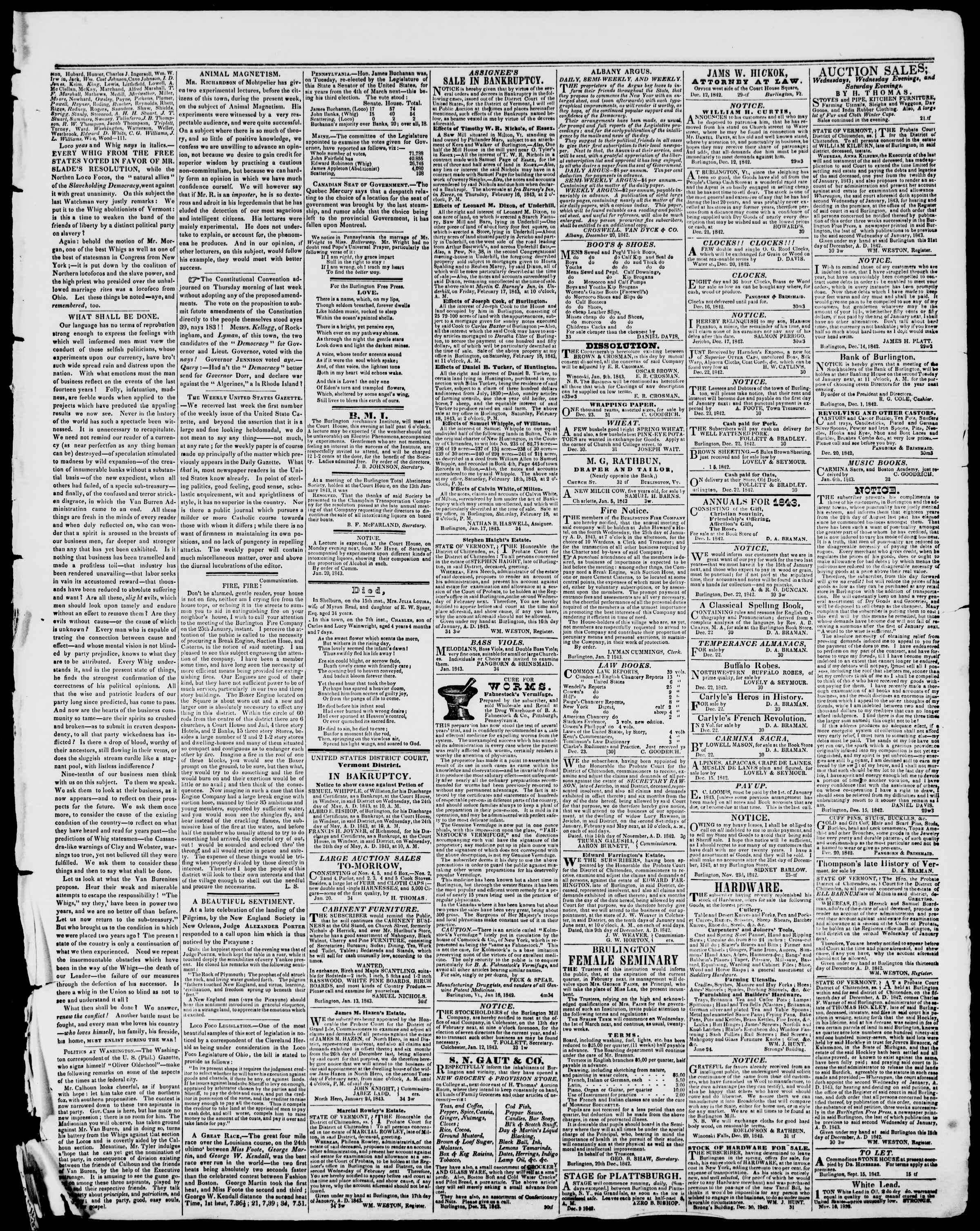 Newspaper of Burlington Free Press dated January 20, 1843 Page 3