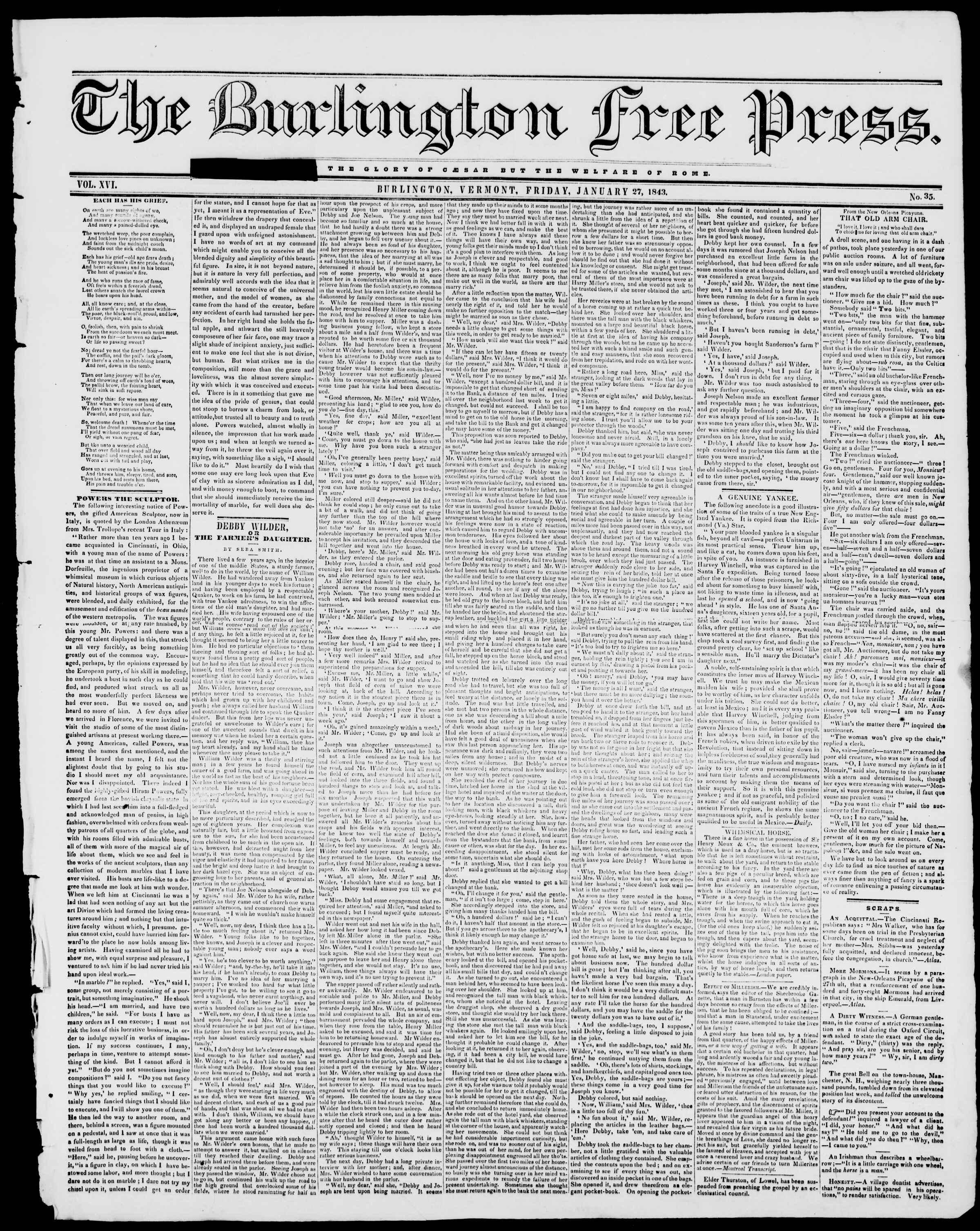 Newspaper of Burlington Free Press dated January 27, 1843 Page 1