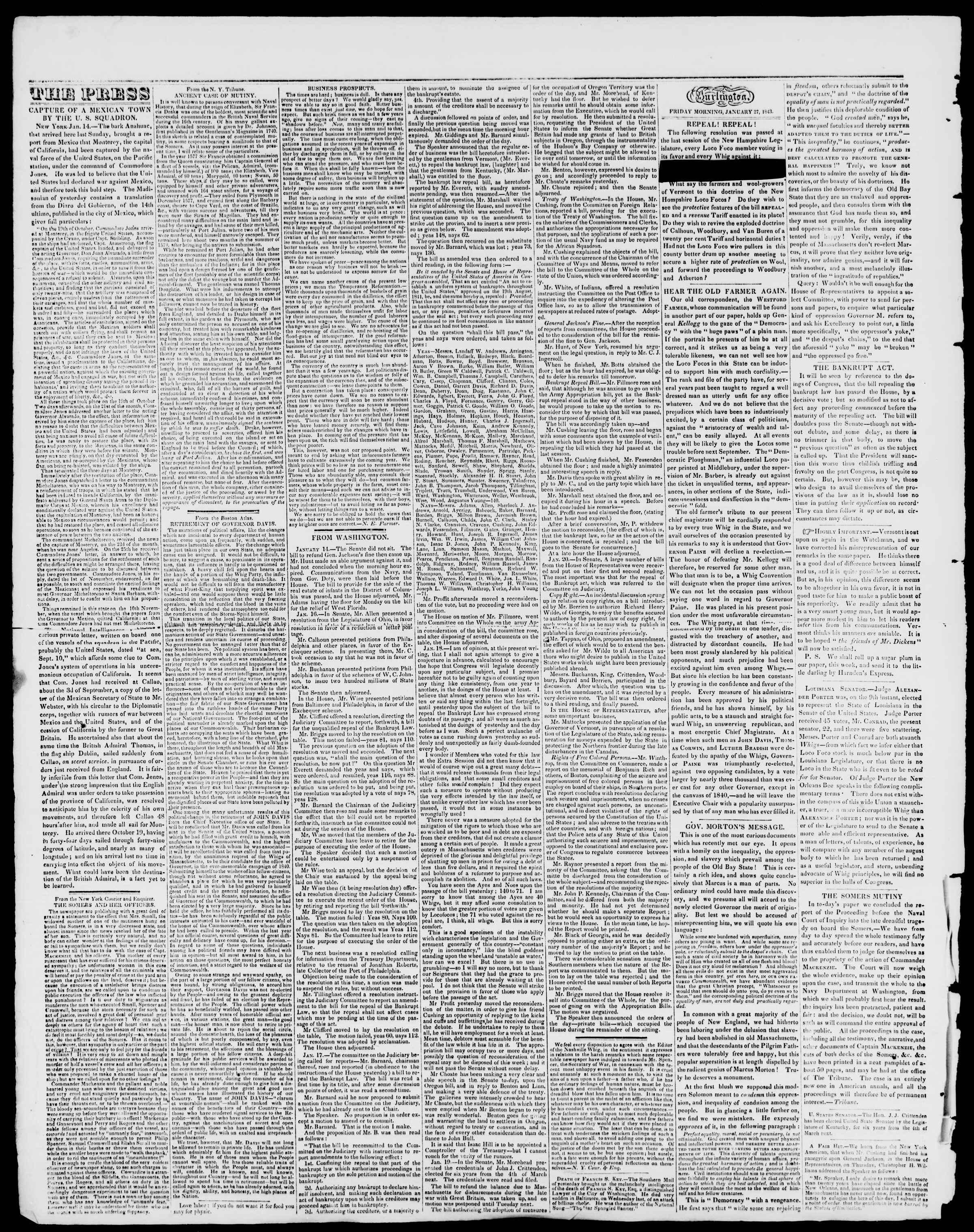 Newspaper of Burlington Free Press dated January 27, 1843 Page 2