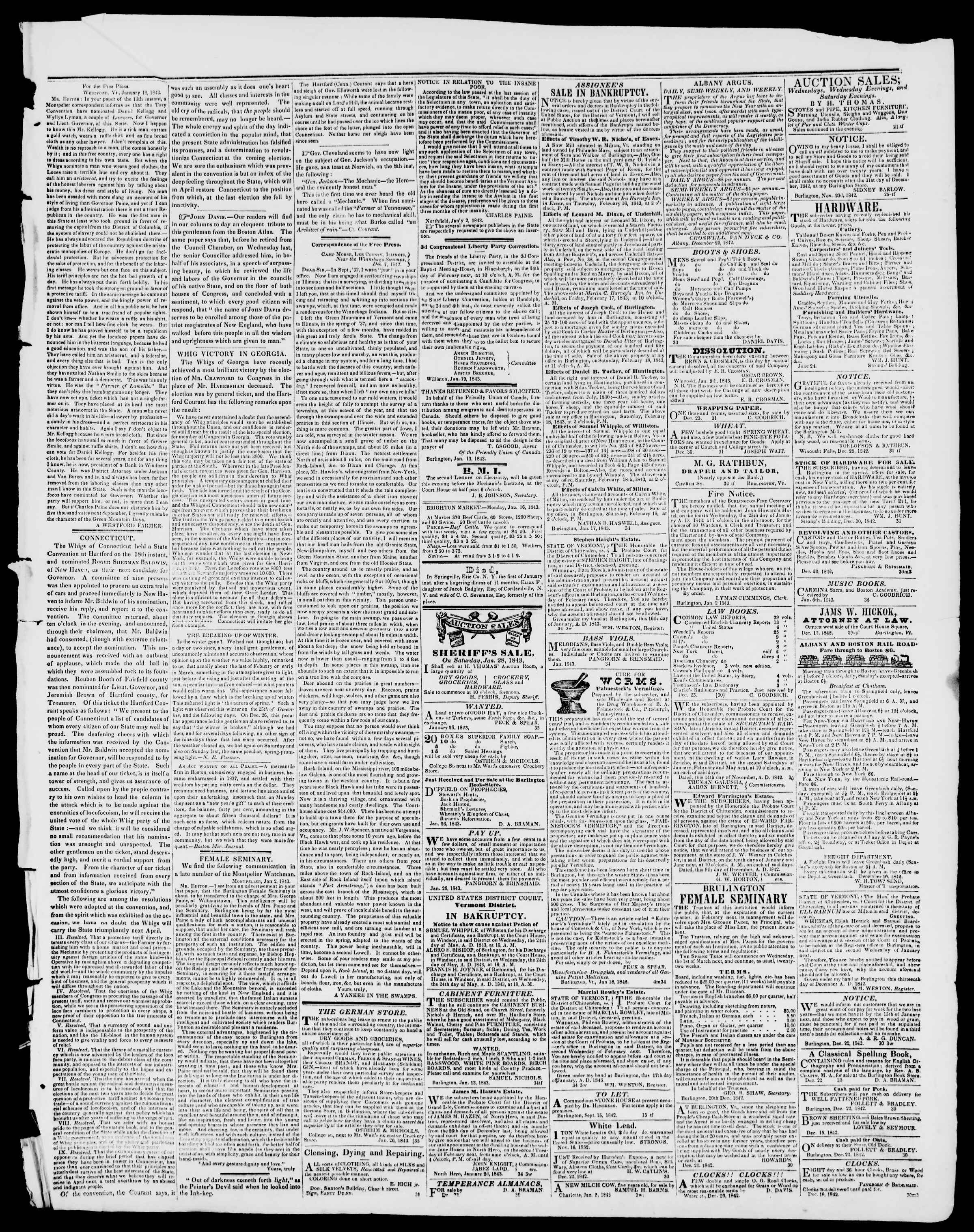 Newspaper of Burlington Free Press dated January 27, 1843 Page 3
