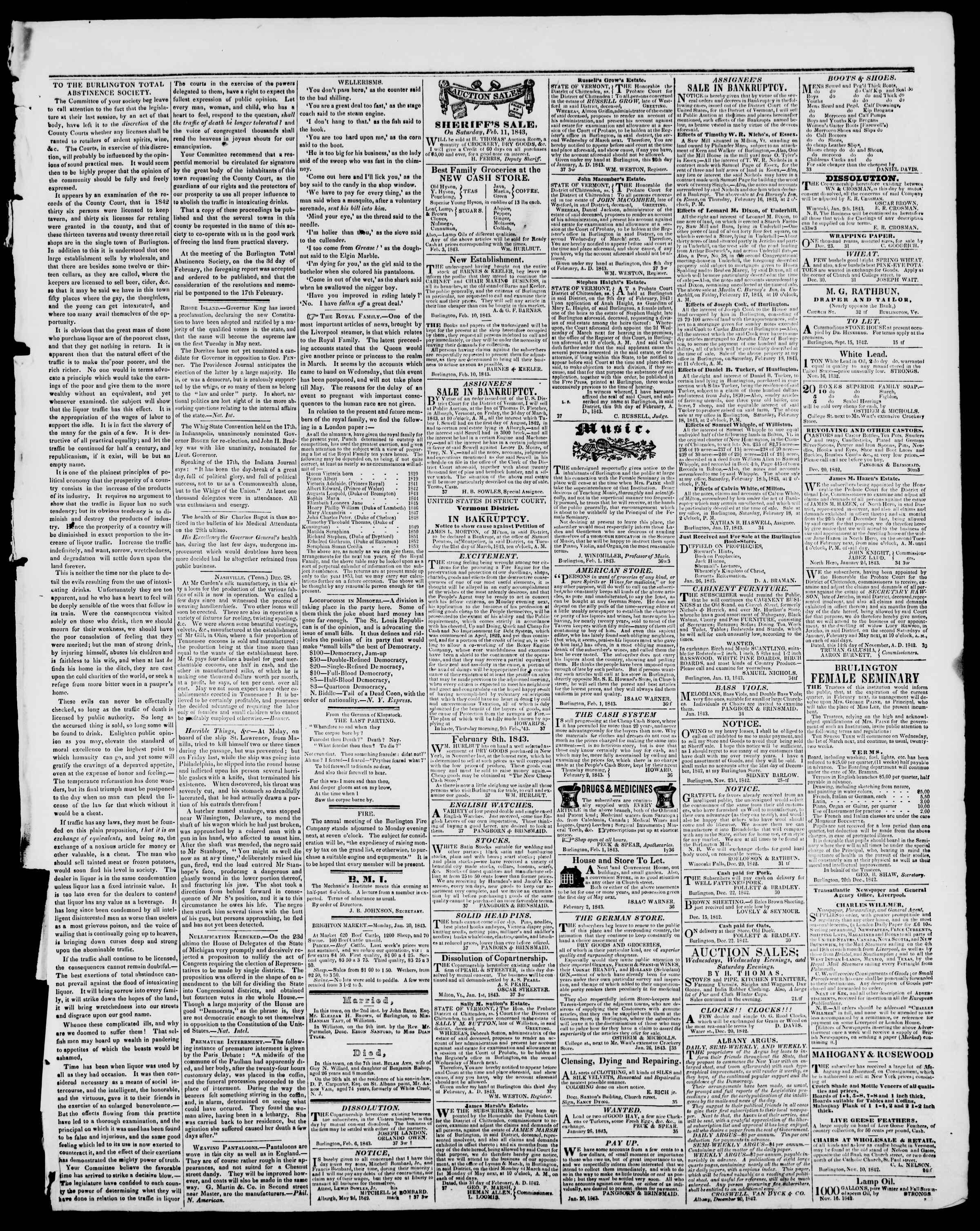 Newspaper of Burlington Free Press dated February 10, 1843 Page 3