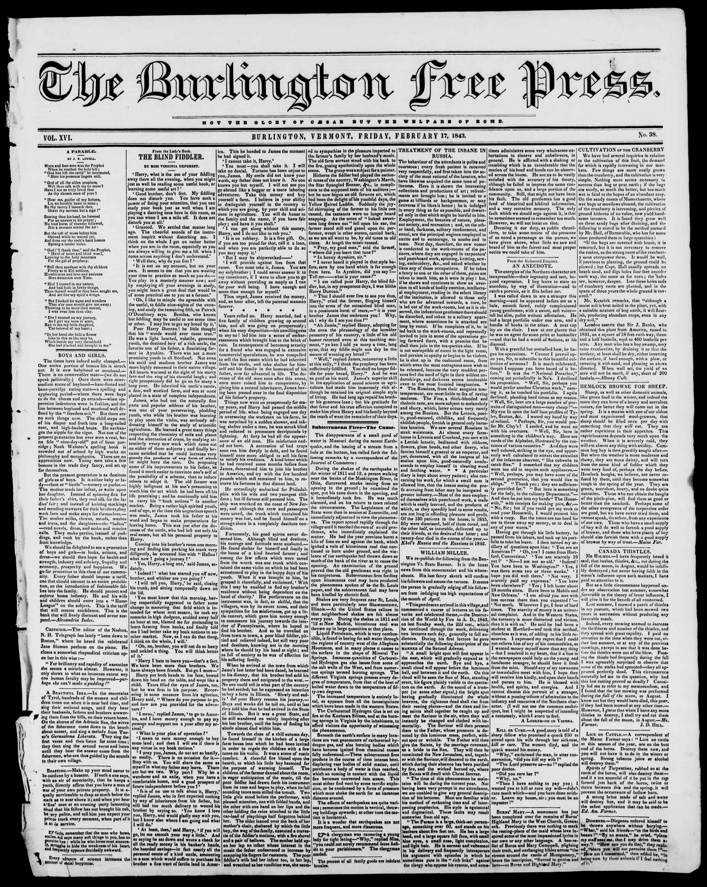 Newspaper of Burlington Free Press dated February 17, 1843 Page 1