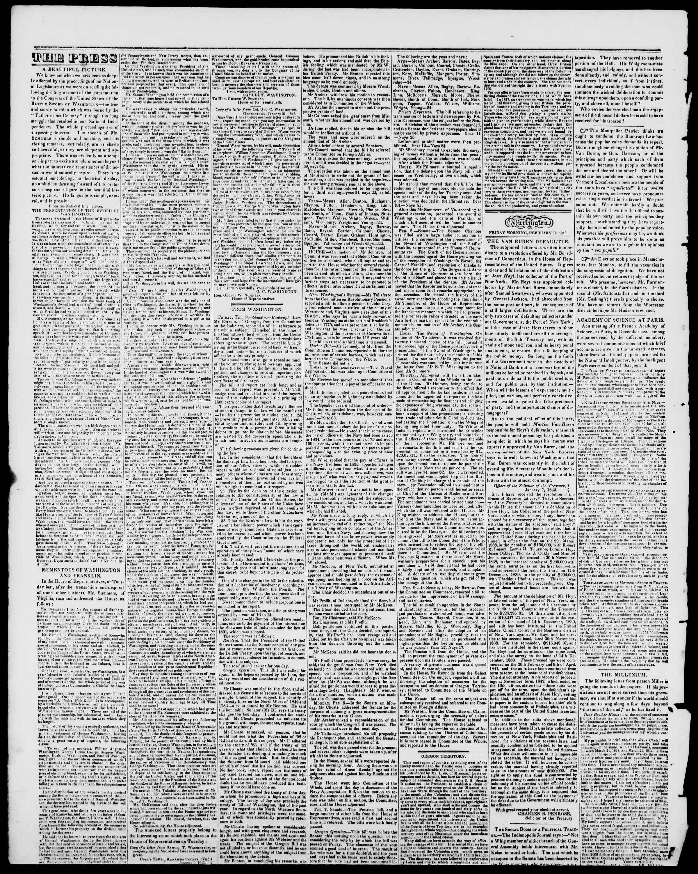 Newspaper of Burlington Free Press dated February 17, 1843 Page 2