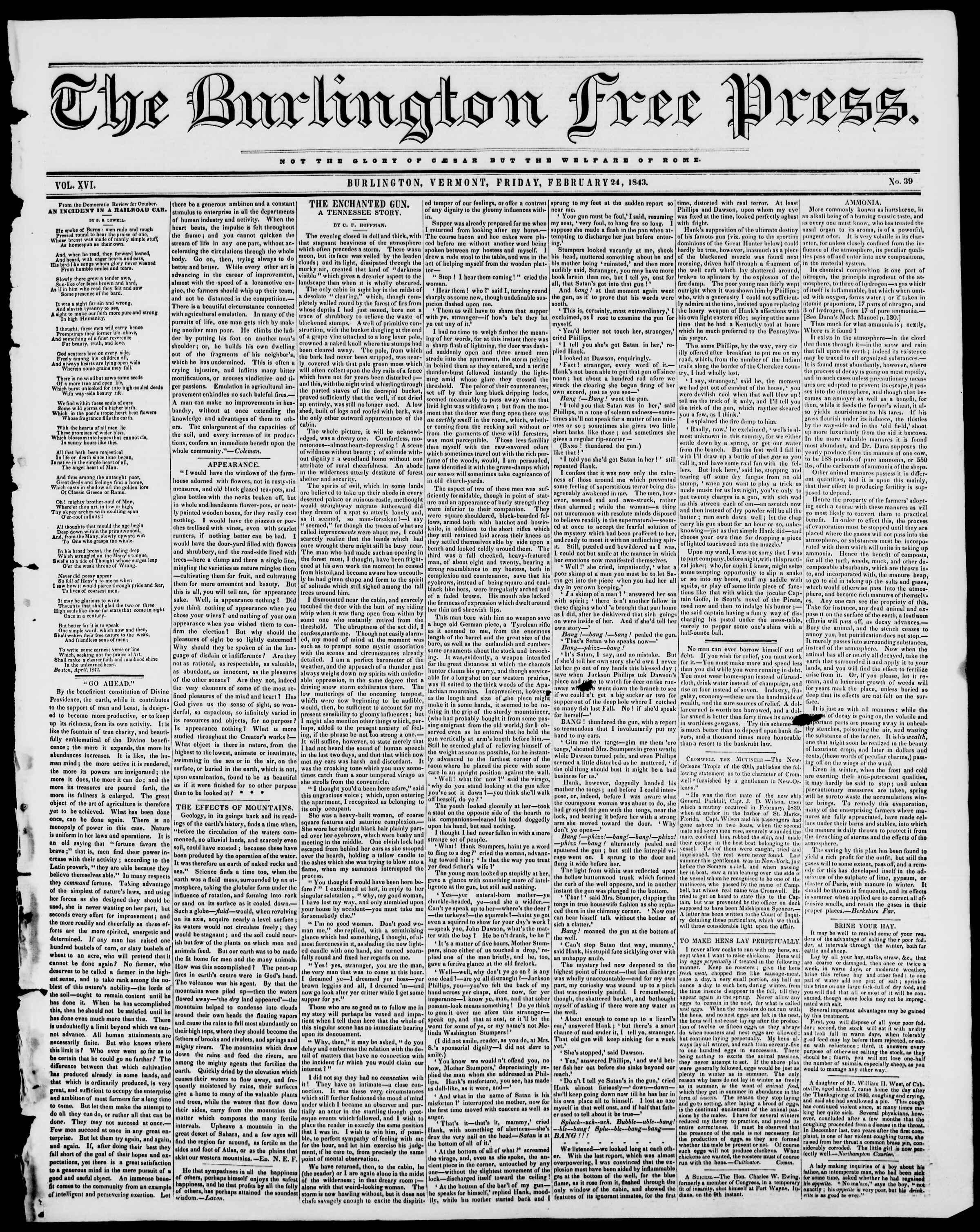 Newspaper of Burlington Free Press dated February 24, 1843 Page 1