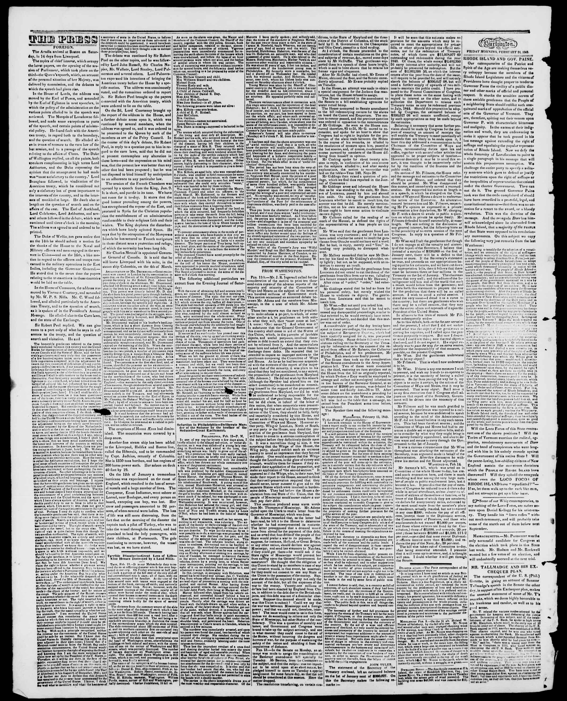 Newspaper of Burlington Free Press dated February 24, 1843 Page 2