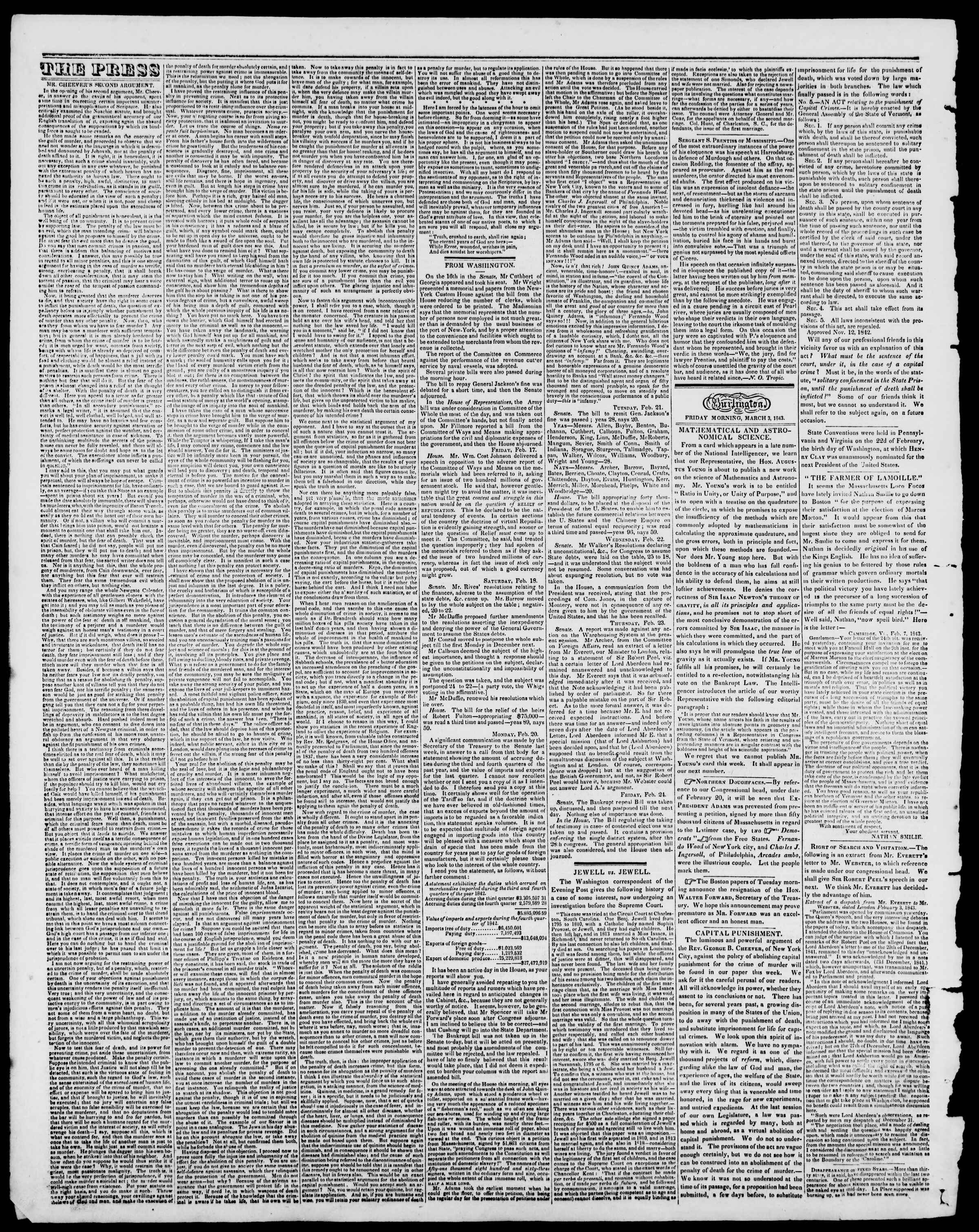 Newspaper of Burlington Free Press dated March 3, 1843 Page 2