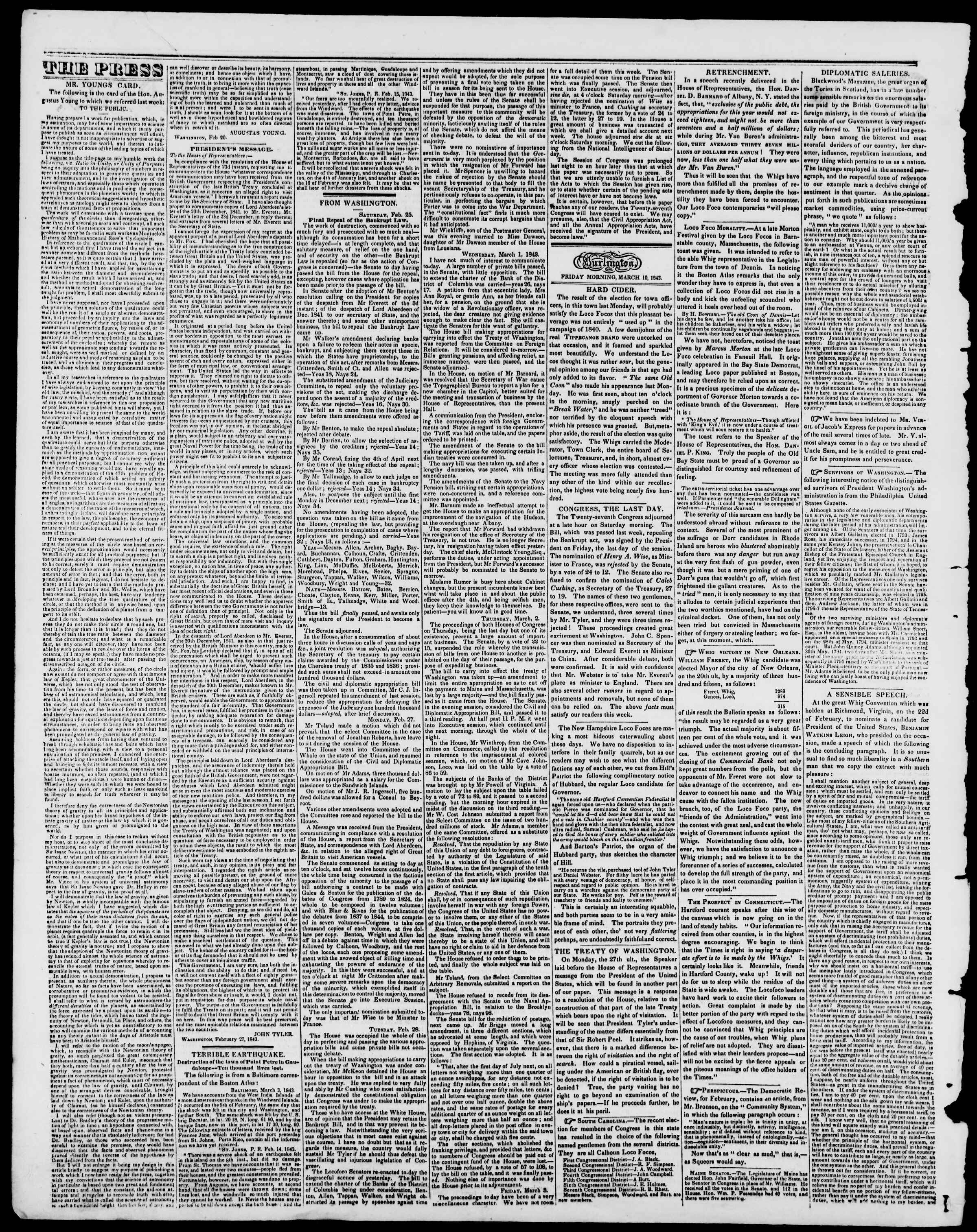 Newspaper of Burlington Free Press dated March 10, 1843 Page 2