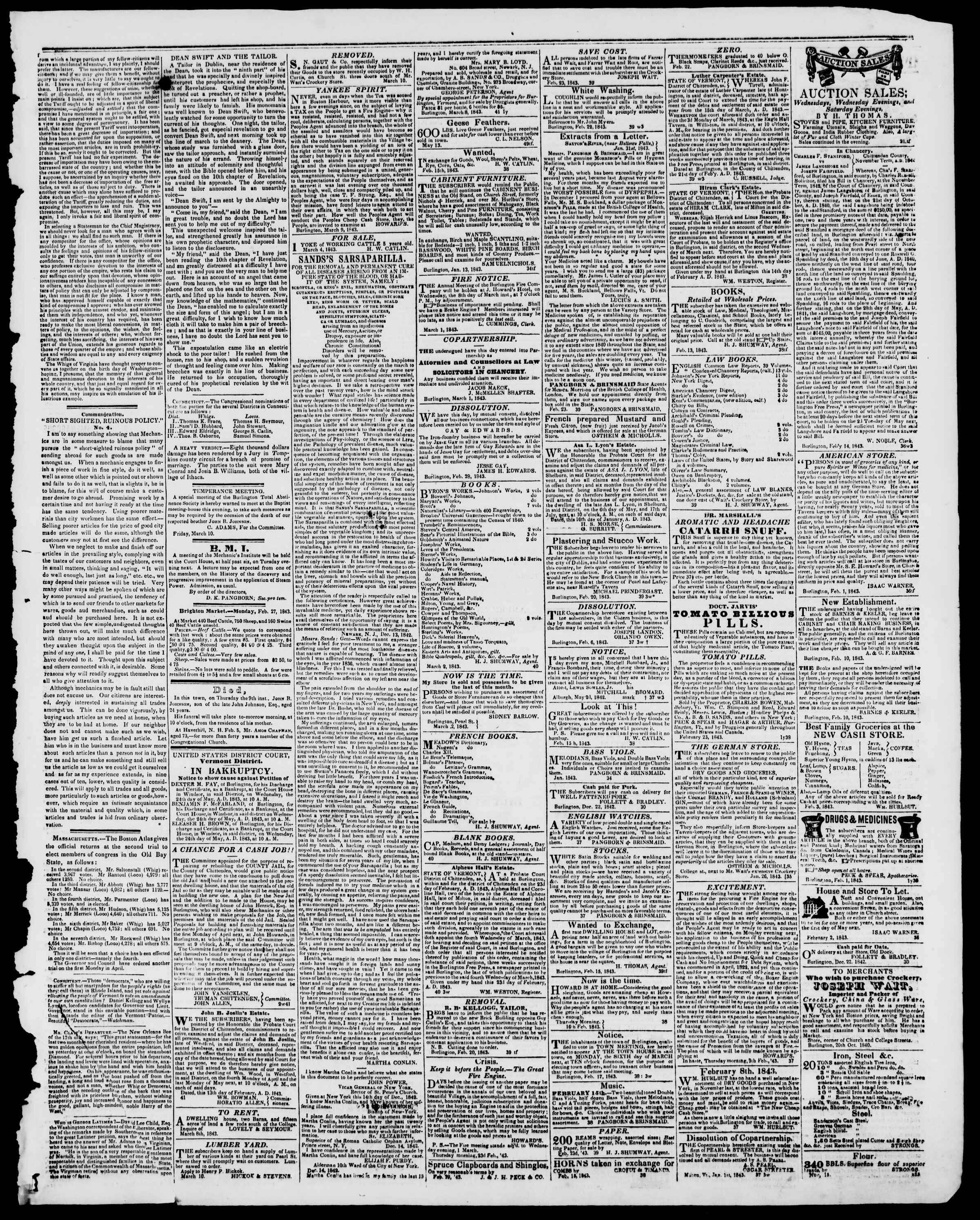 Newspaper of Burlington Free Press dated March 10, 1843 Page 3