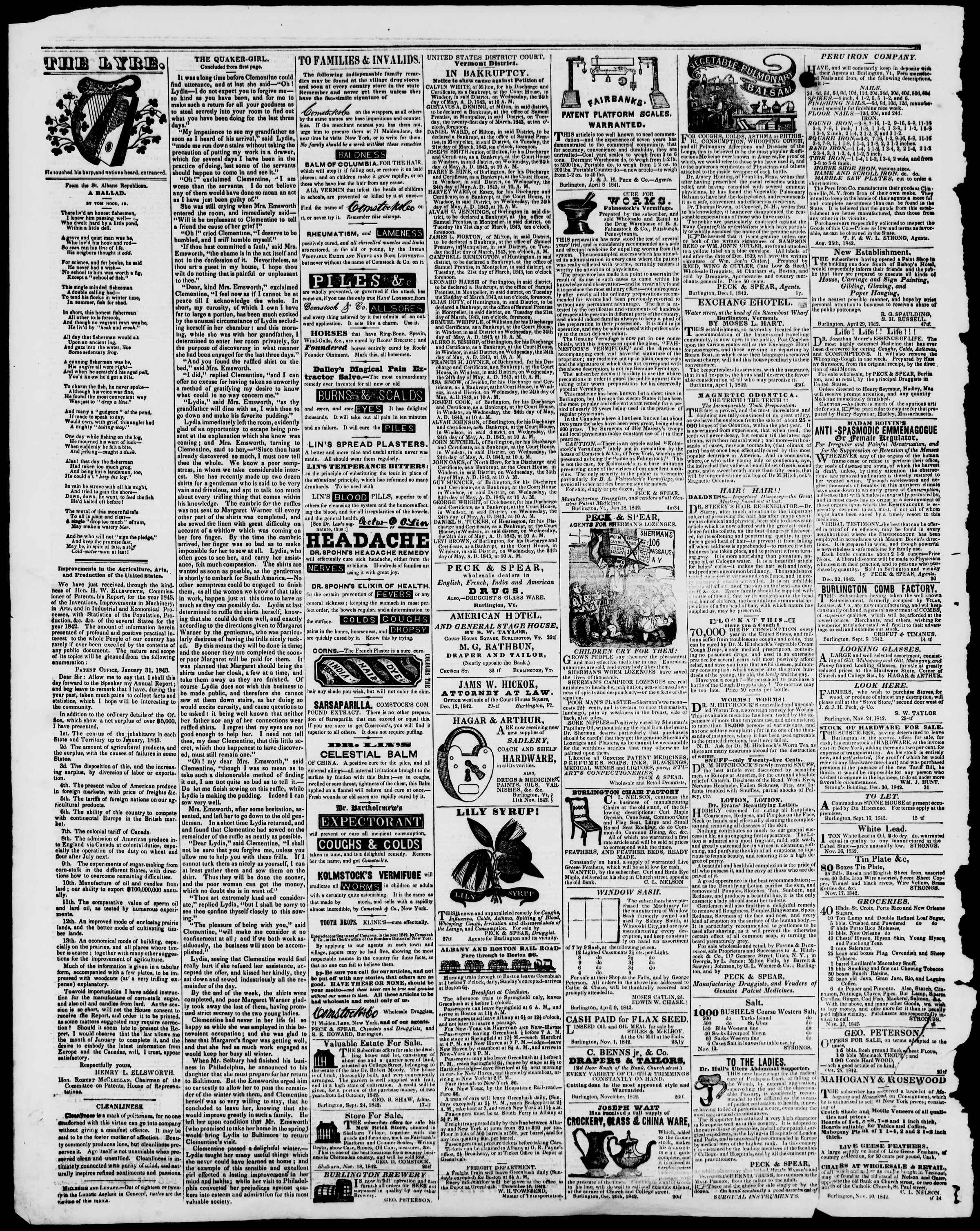 Newspaper of Burlington Free Press dated March 10, 1843 Page 4