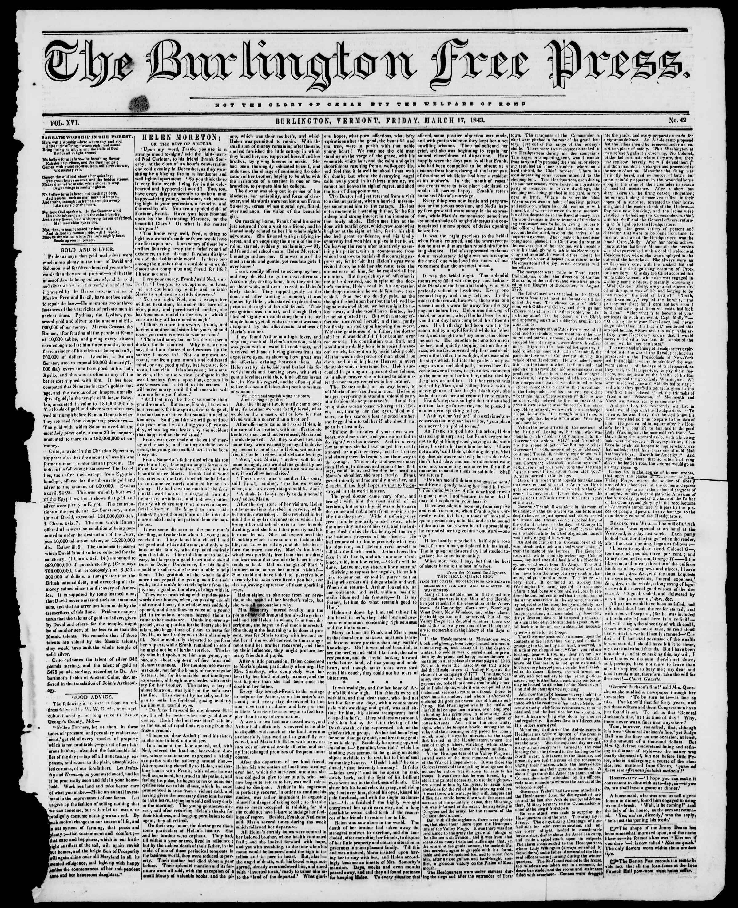Newspaper of Burlington Free Press dated March 17, 1843 Page 1