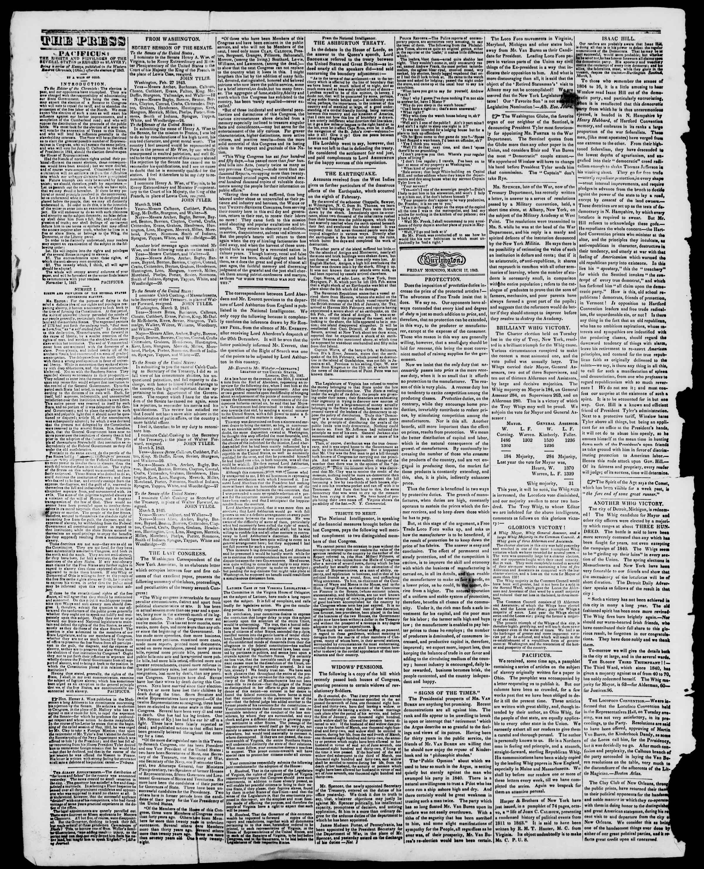 Newspaper of Burlington Free Press dated March 17, 1843 Page 2