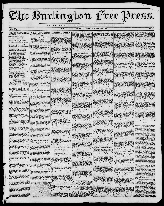 24 Mart 1843 tarihli Burlington Free Press Gazetesi Sayfa 1