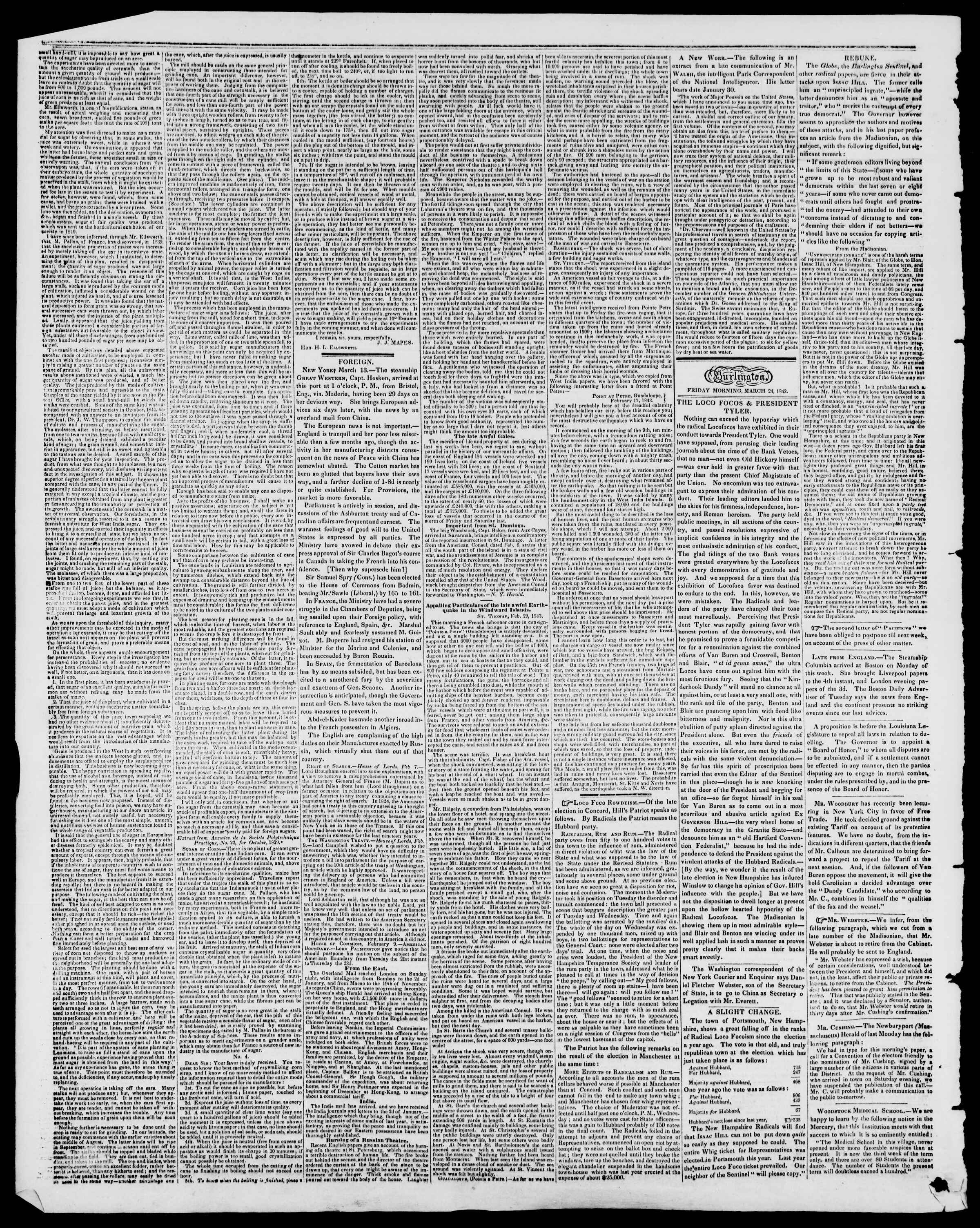 Newspaper of Burlington Free Press dated March 24, 1843 Page 2