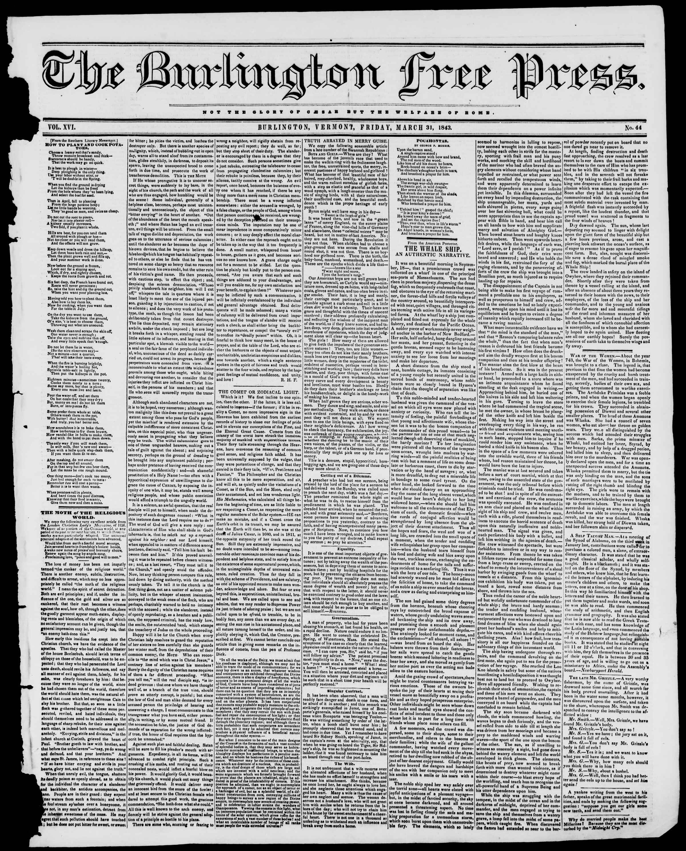 Newspaper of Burlington Free Press dated March 31, 1843 Page 1
