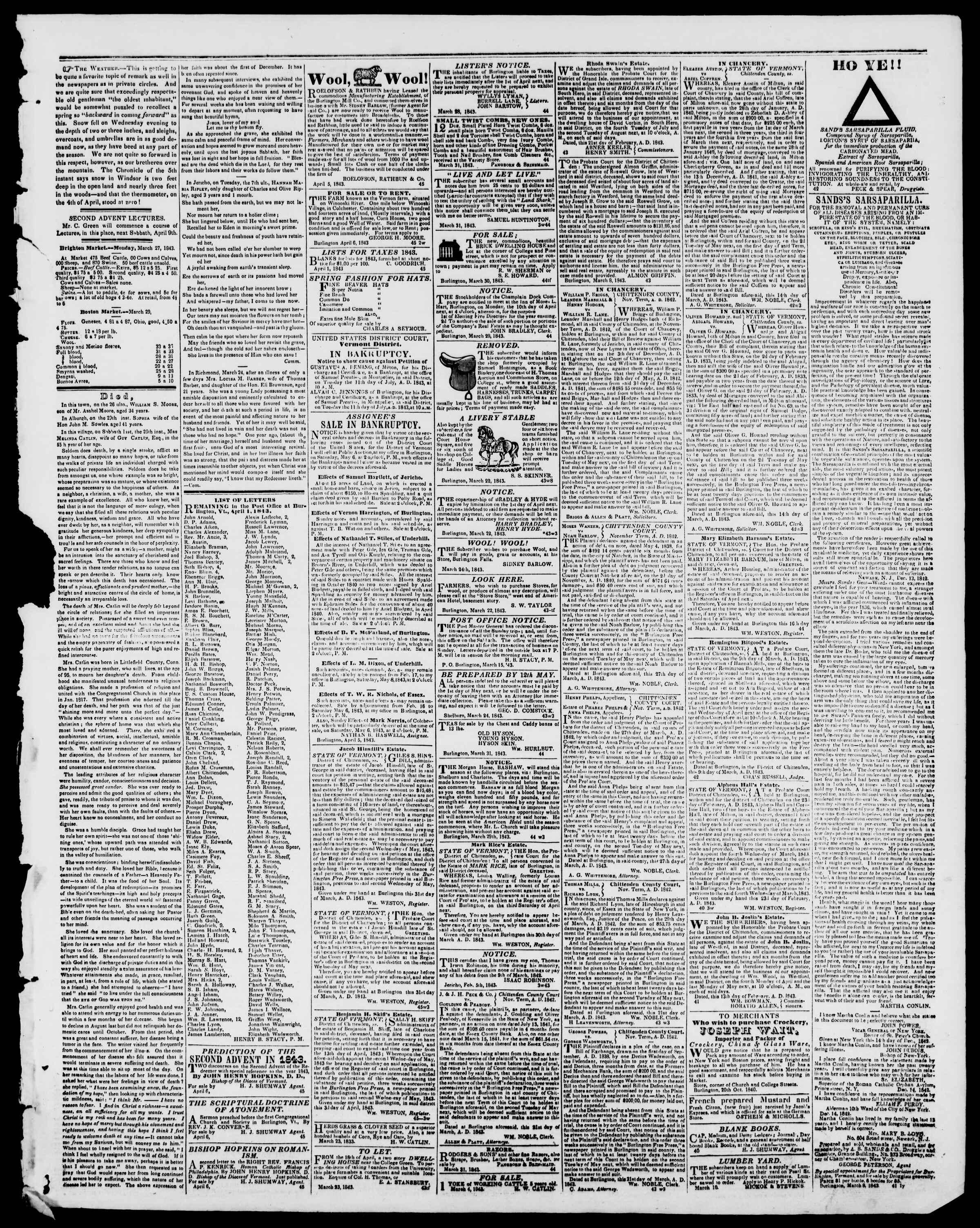 Newspaper of Burlington Free Press dated April 7, 1843 Page 3