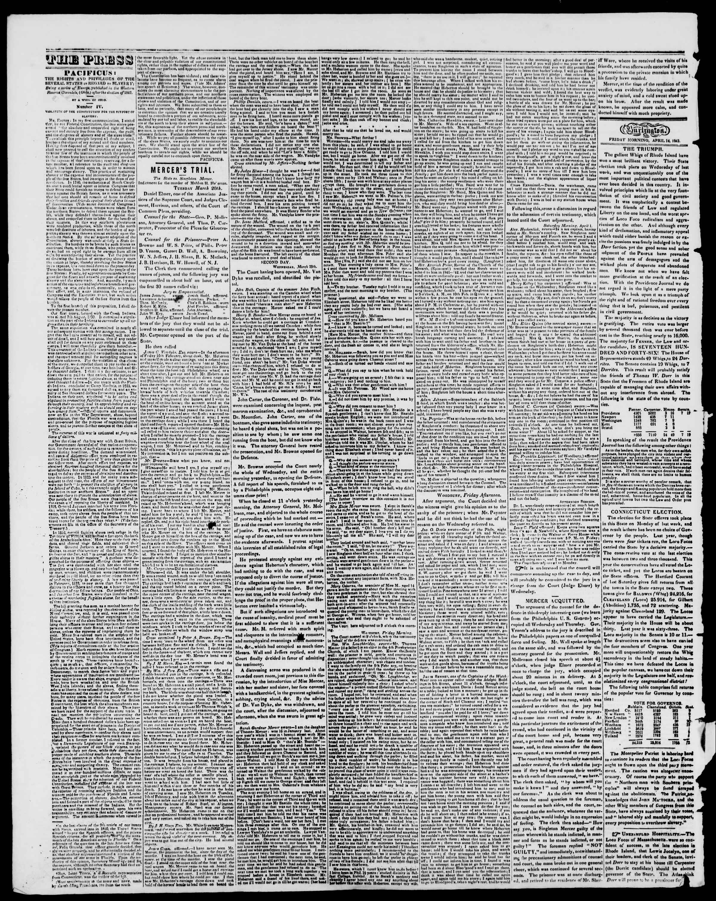 Newspaper of Burlington Free Press dated April 14, 1843 Page 2