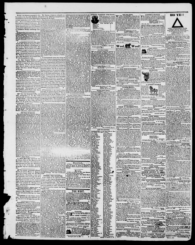 Newspaper of Burlington Free Press dated April 14, 1843 Page 3