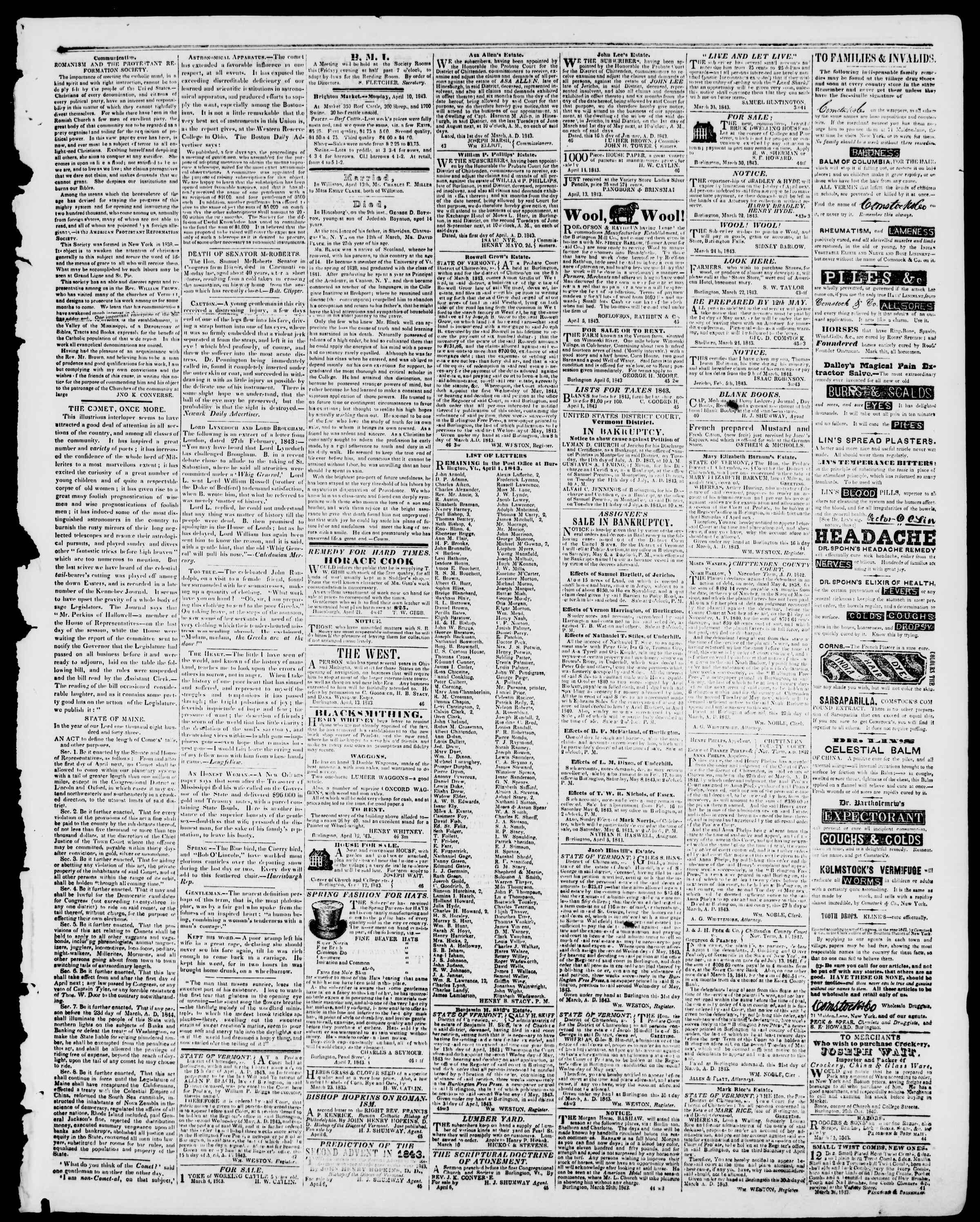 Newspaper of Burlington Free Press dated April 21, 1843 Page 3