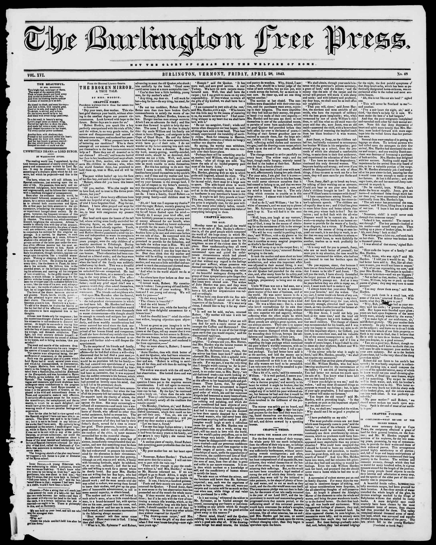 28 Nisan 1843 tarihli Burlington Free Press Gazetesi Sayfa 1