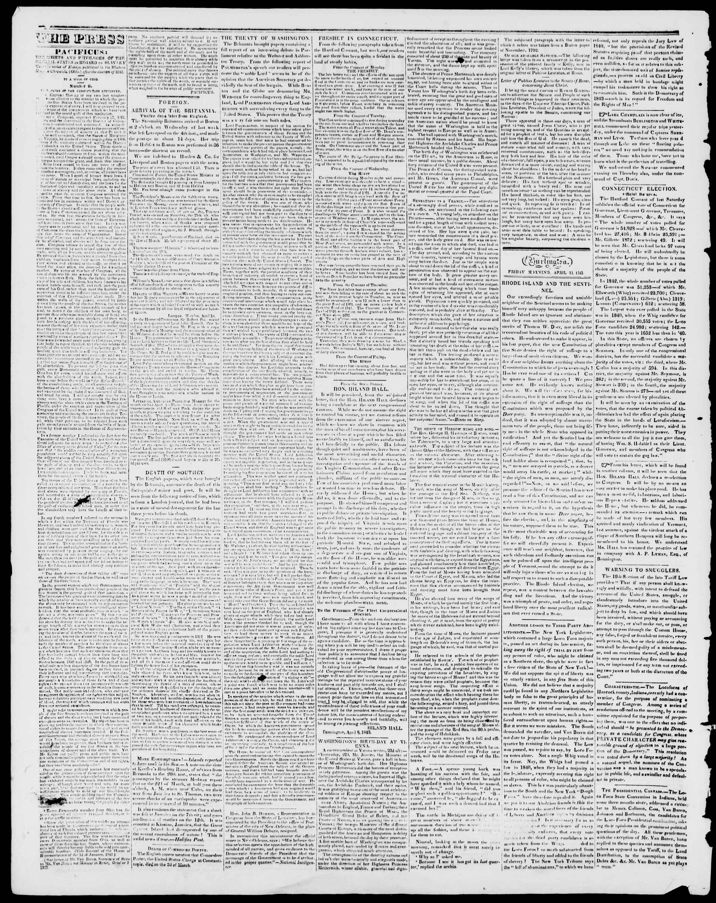 Newspaper of Burlington Free Press dated April 28, 1843 Page 2