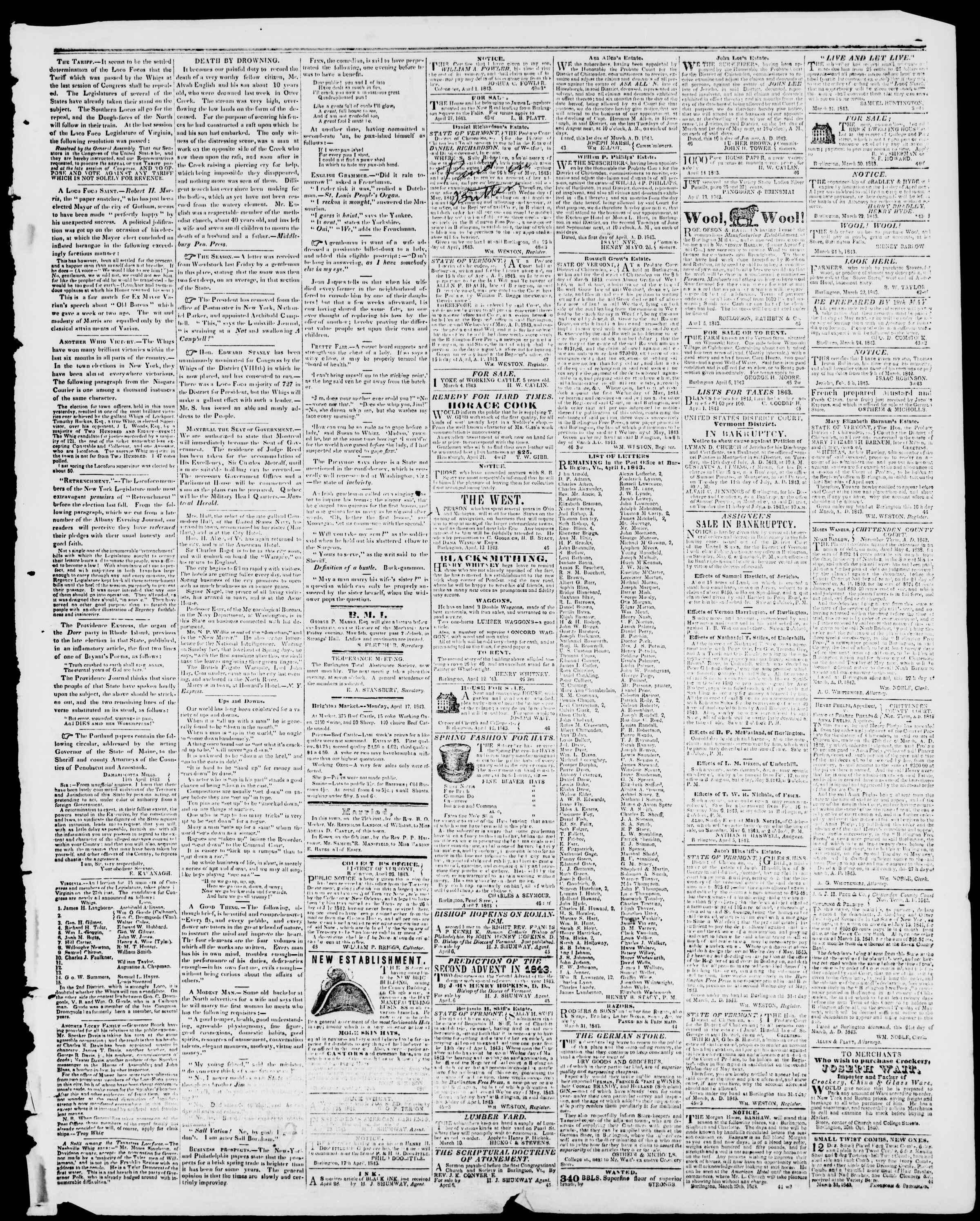 28 Nisan 1843 tarihli Burlington Free Press Gazetesi Sayfa 3