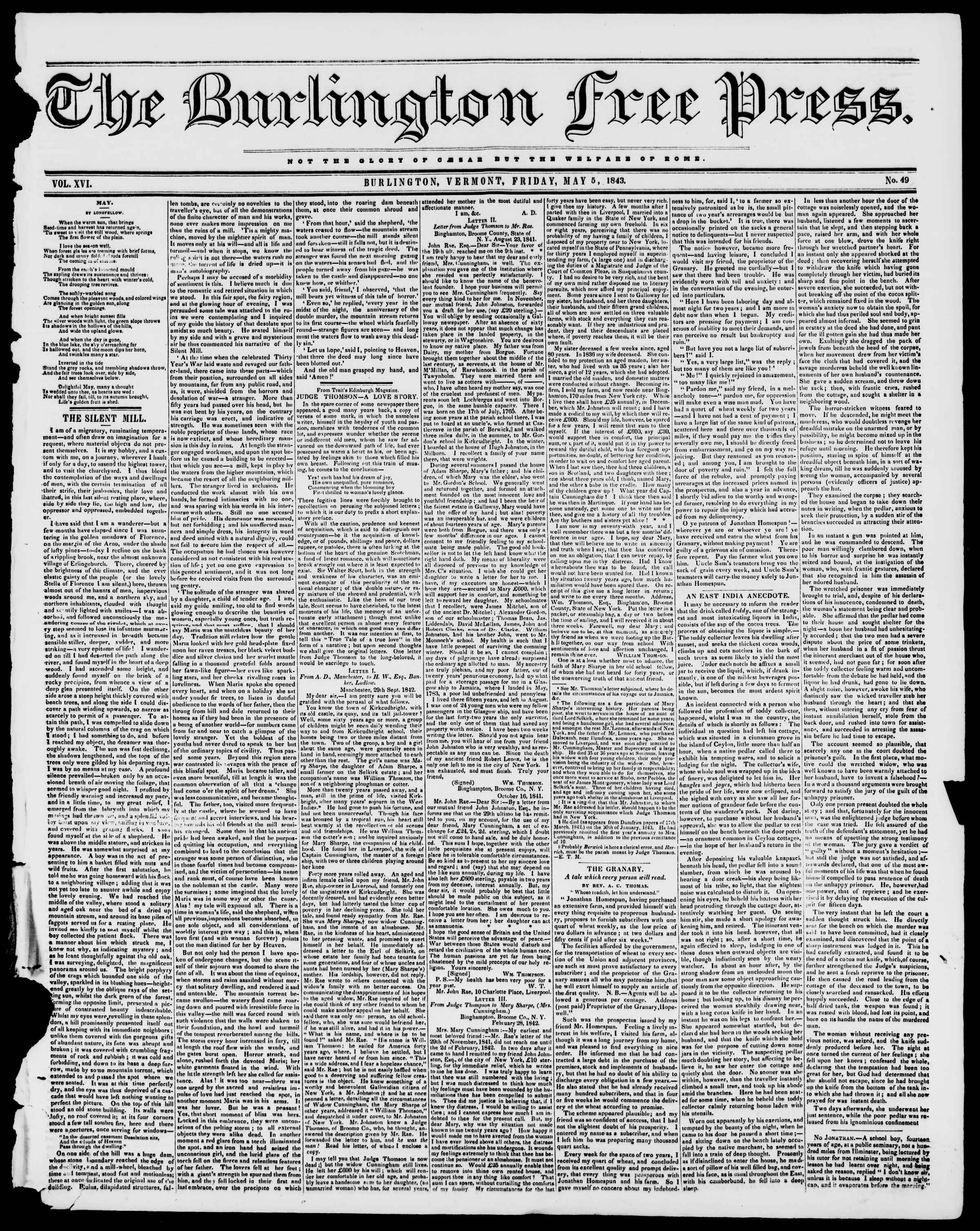 Newspaper of Burlington Free Press dated May 5, 1843 Page 1