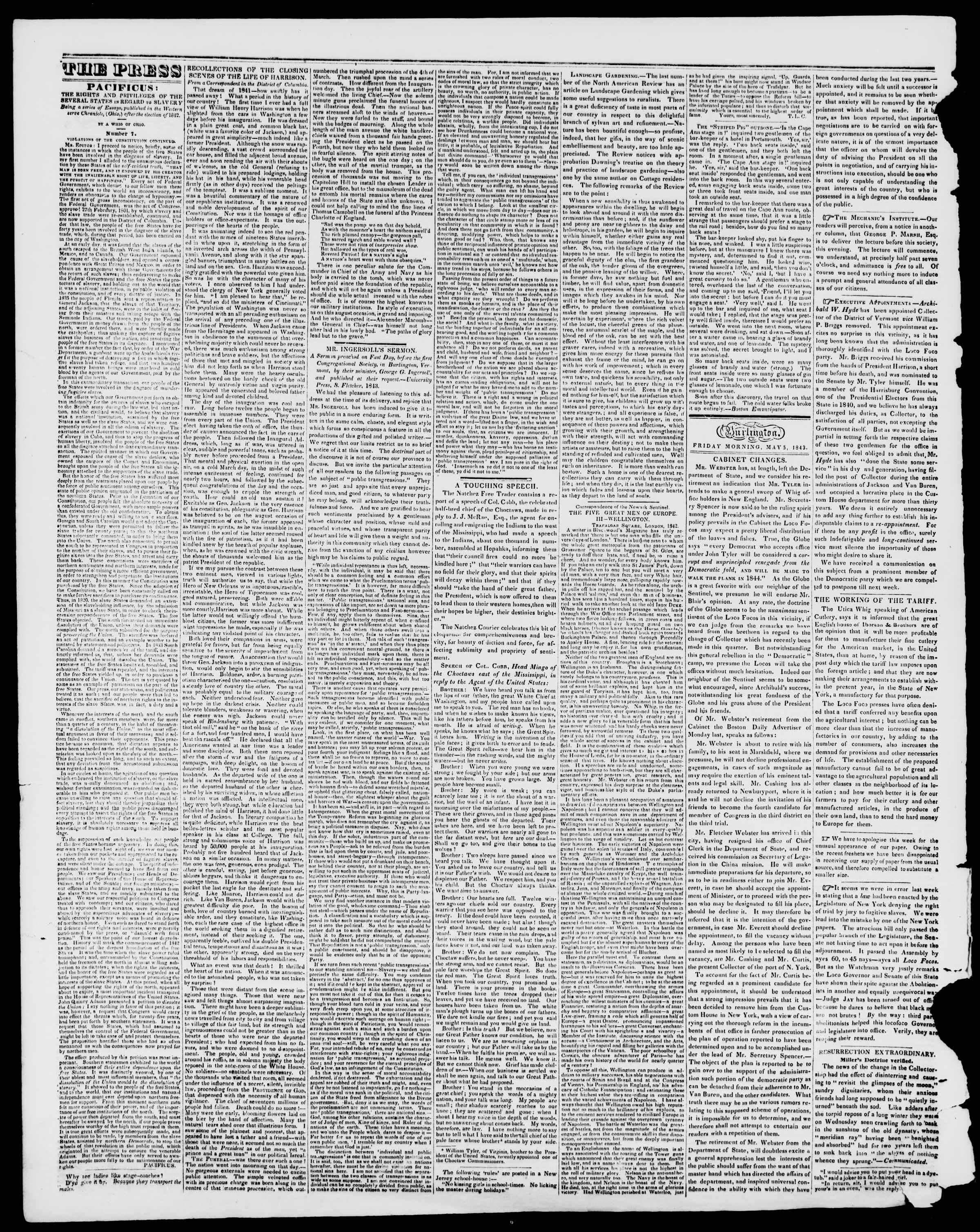 Newspaper of Burlington Free Press dated May 5, 1843 Page 2