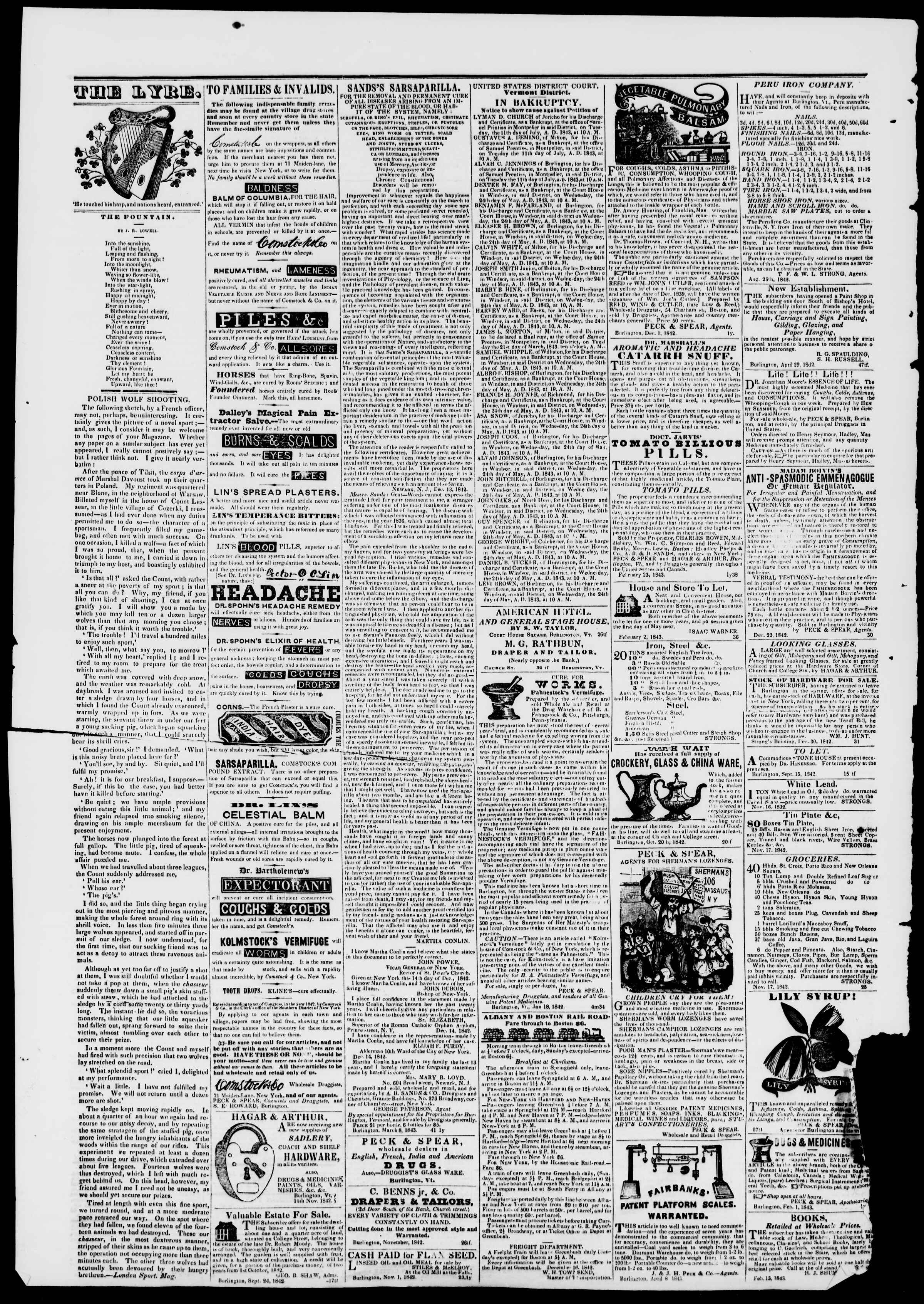 Newspaper of Burlington Free Press dated May 5, 1843 Page 4