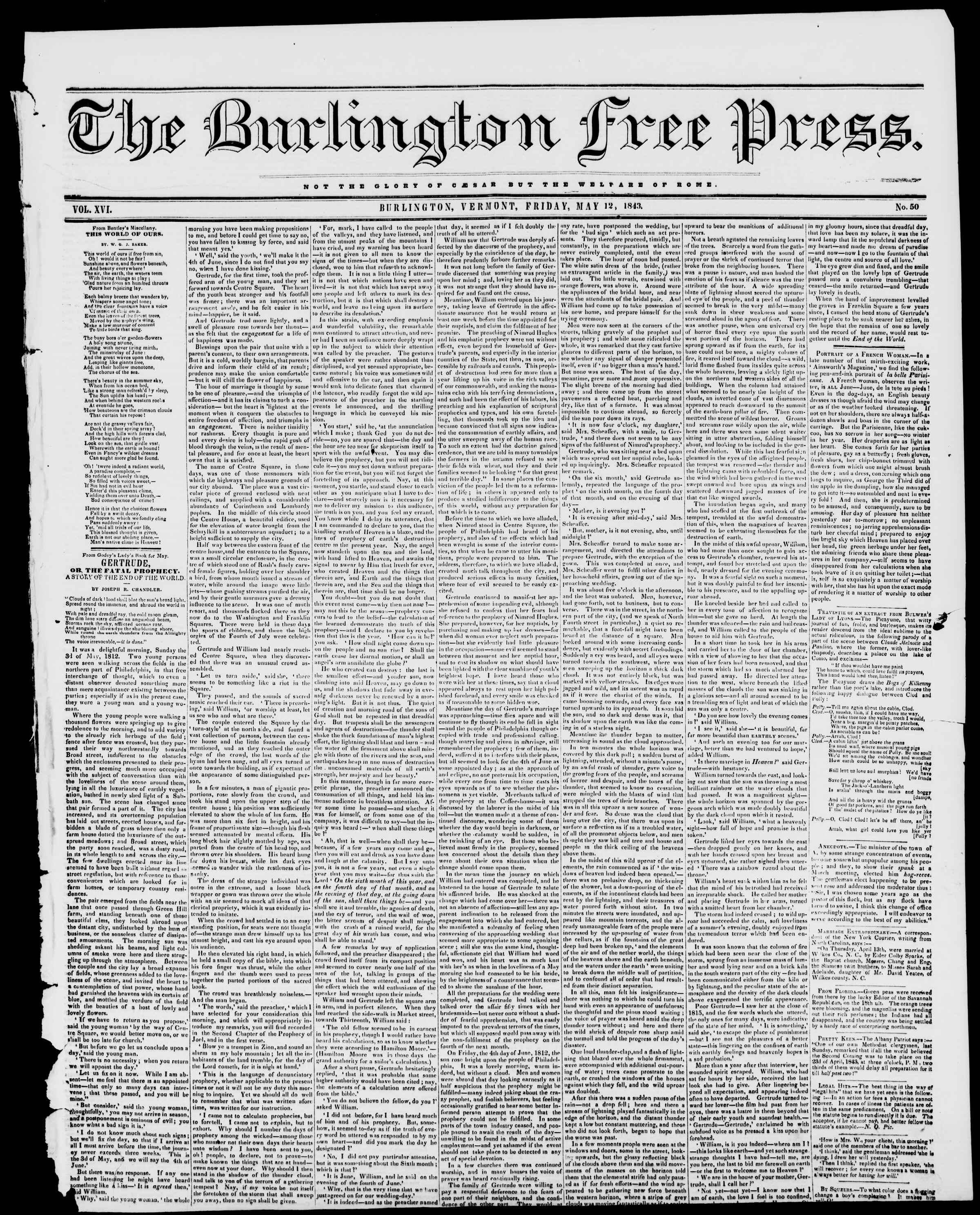 Newspaper of Burlington Free Press dated May 12, 1843 Page 1