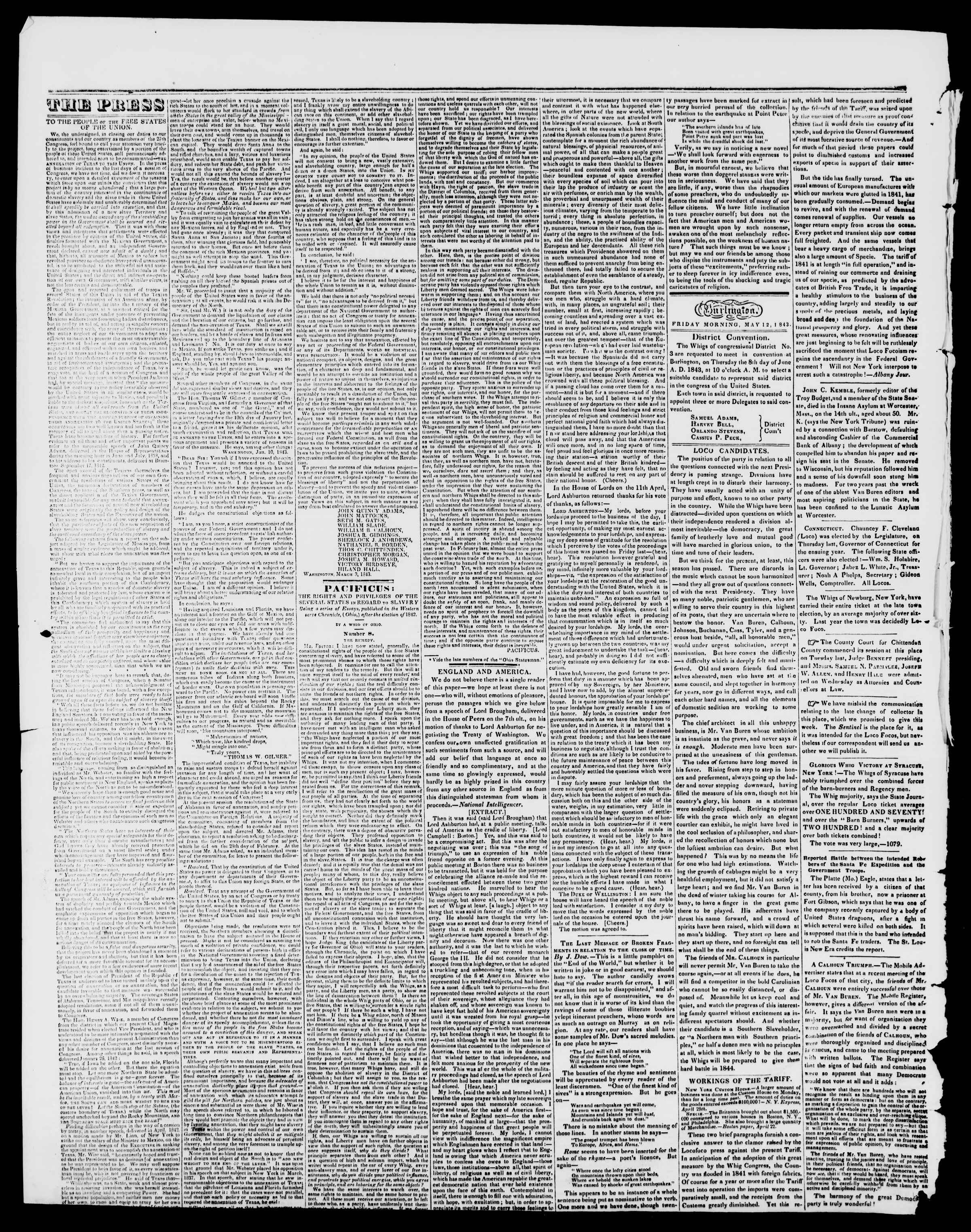 Newspaper of Burlington Free Press dated May 12, 1843 Page 2