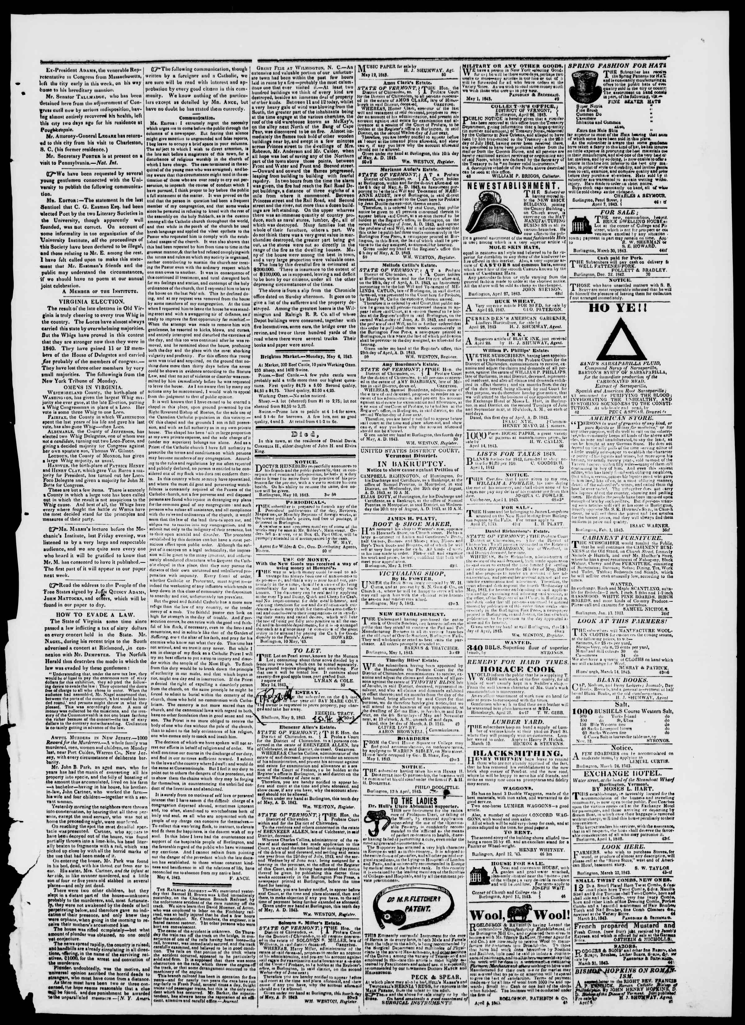 12 Mayıs 1843 tarihli Burlington Free Press Gazetesi Sayfa 3