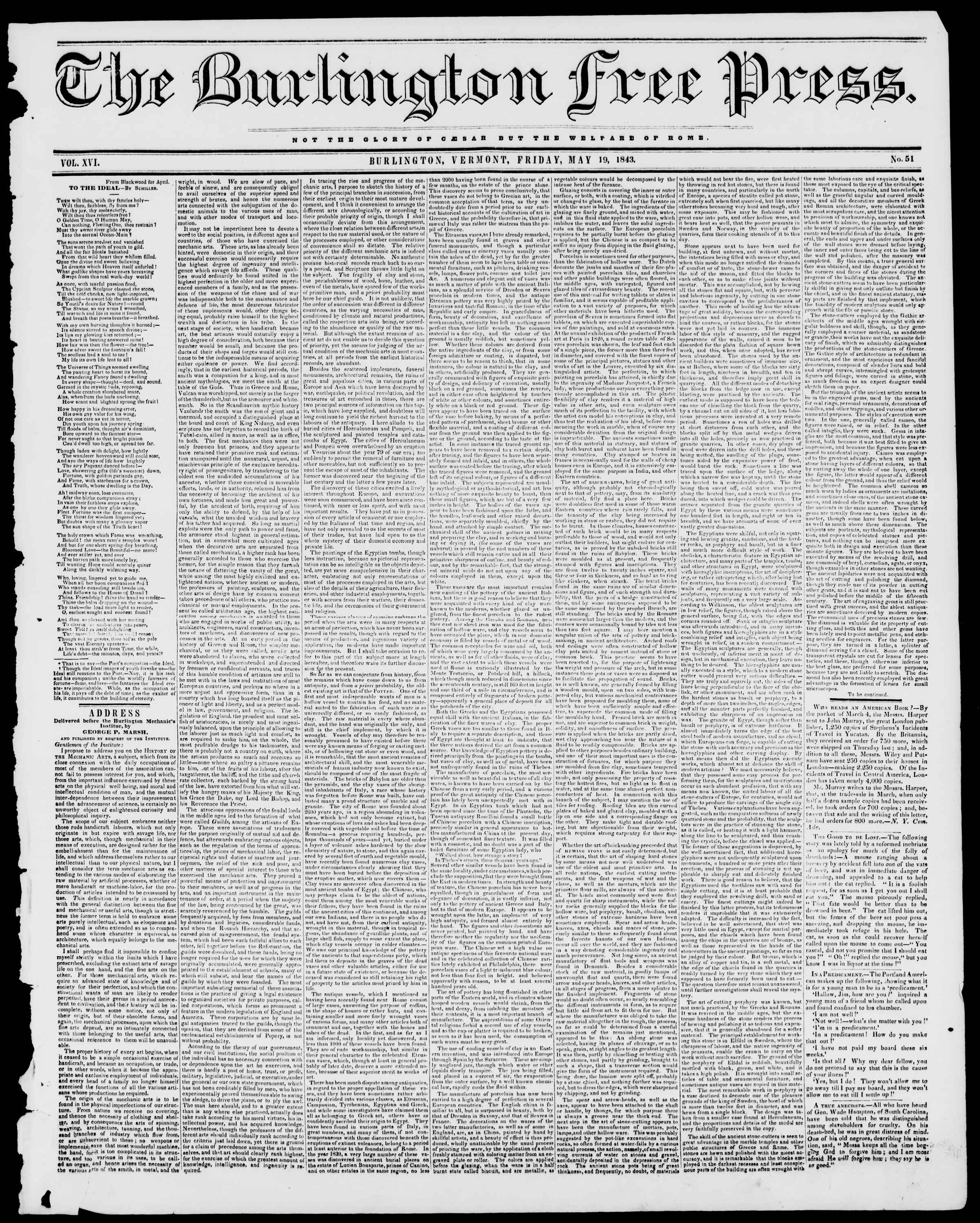 Newspaper of Burlington Free Press dated May 19, 1843 Page 1