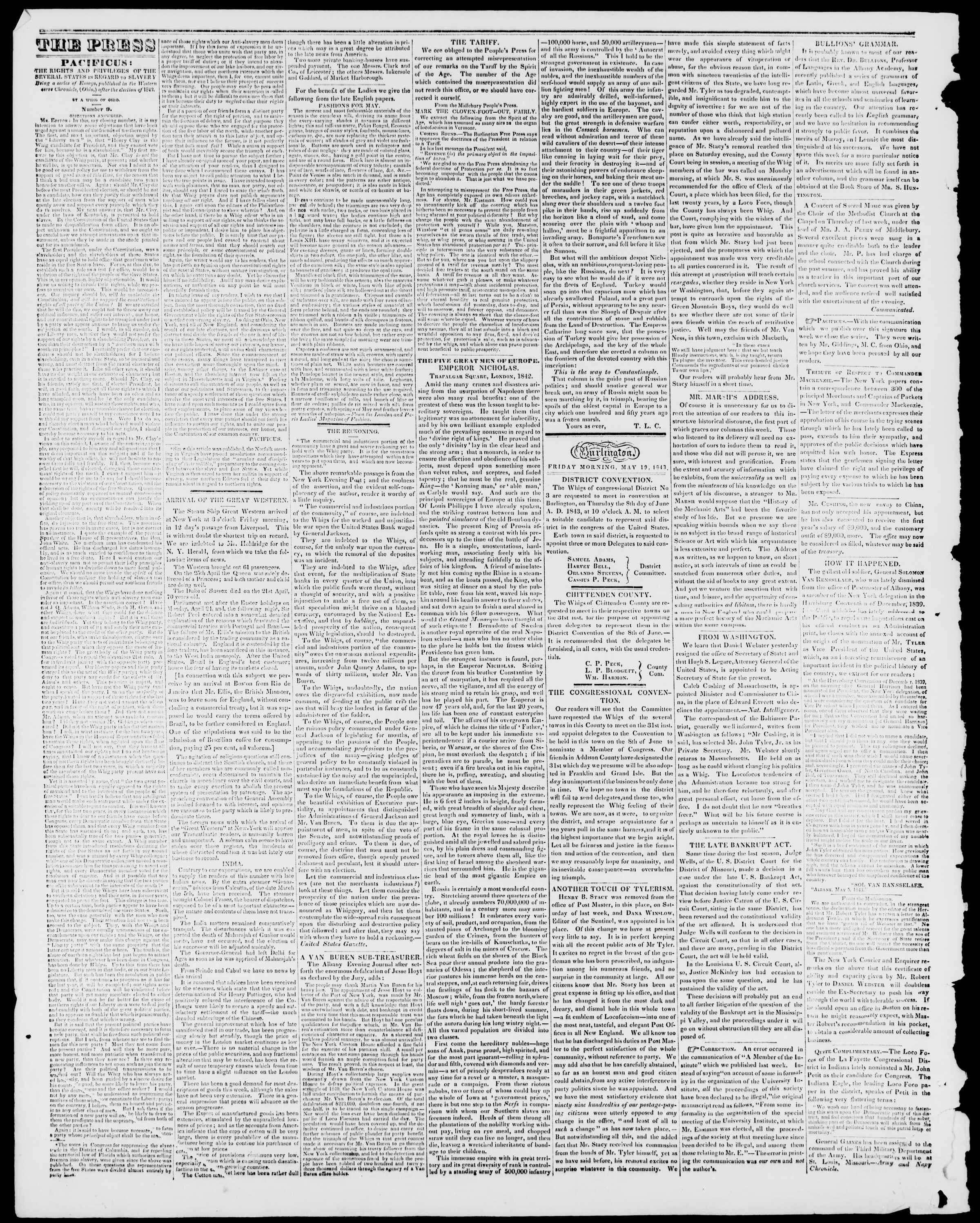 Newspaper of Burlington Free Press dated May 19, 1843 Page 2