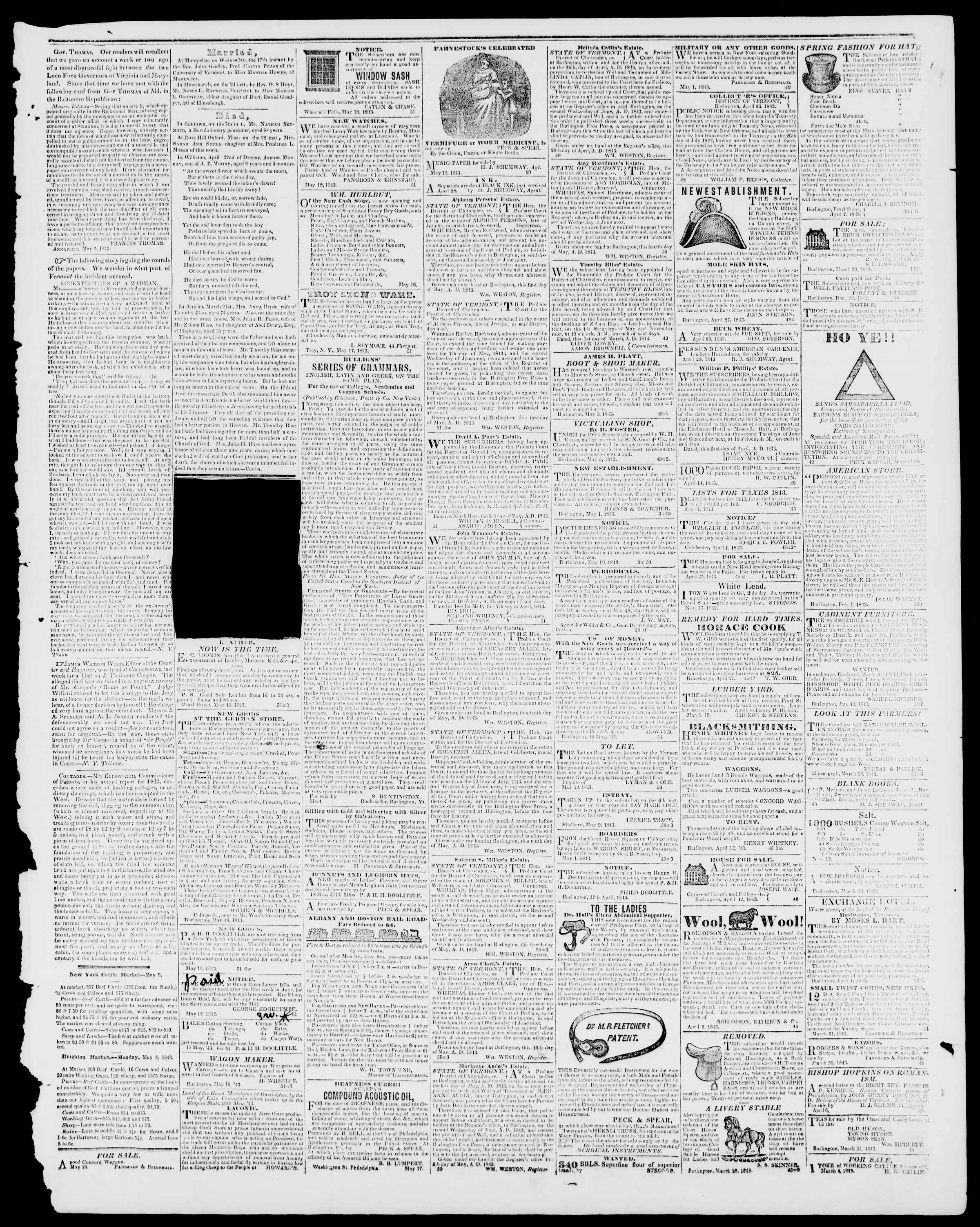 Newspaper of Burlington Free Press dated May 19, 1843 Page 3
