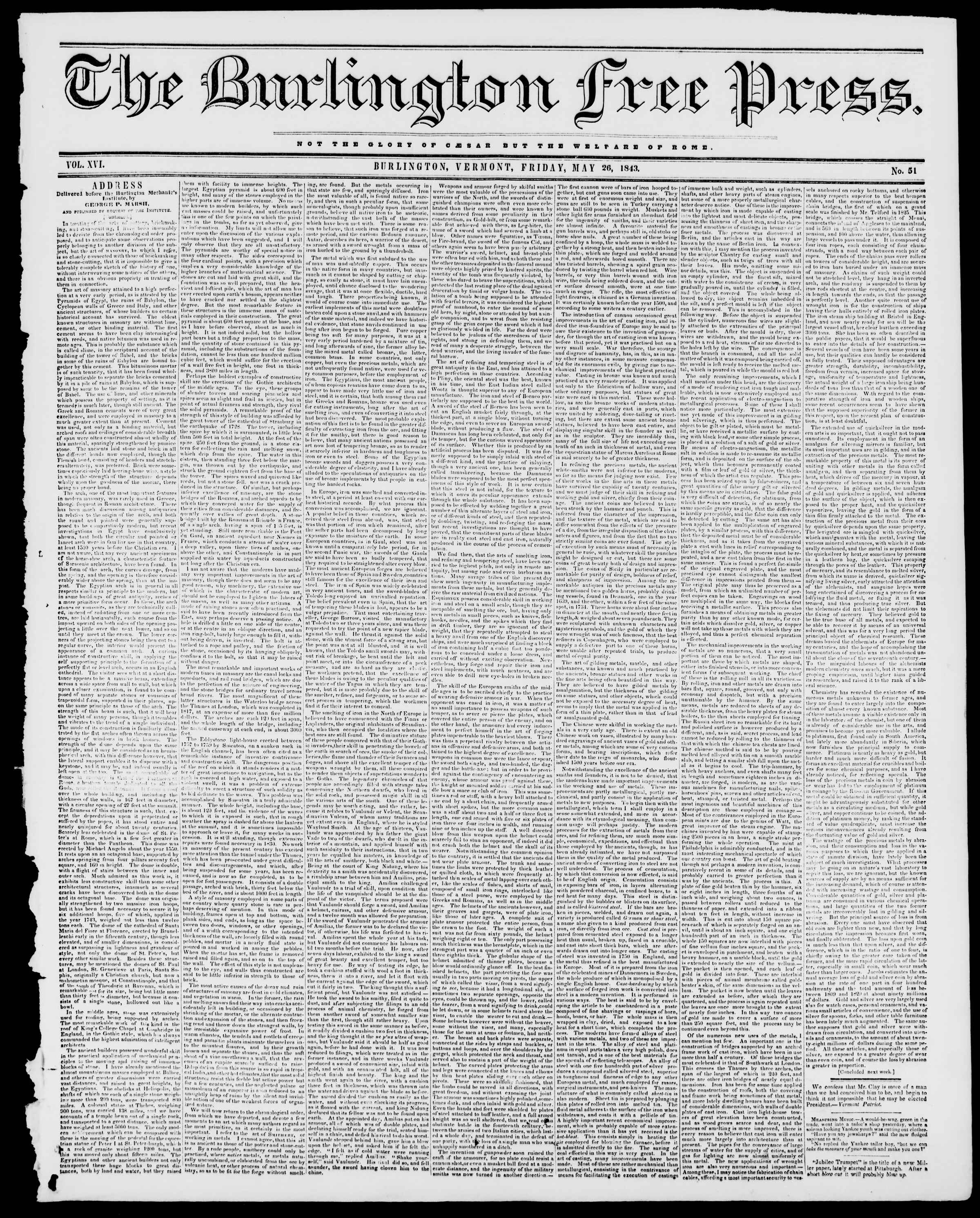 Newspaper of Burlington Free Press dated May 26, 1843 Page 1