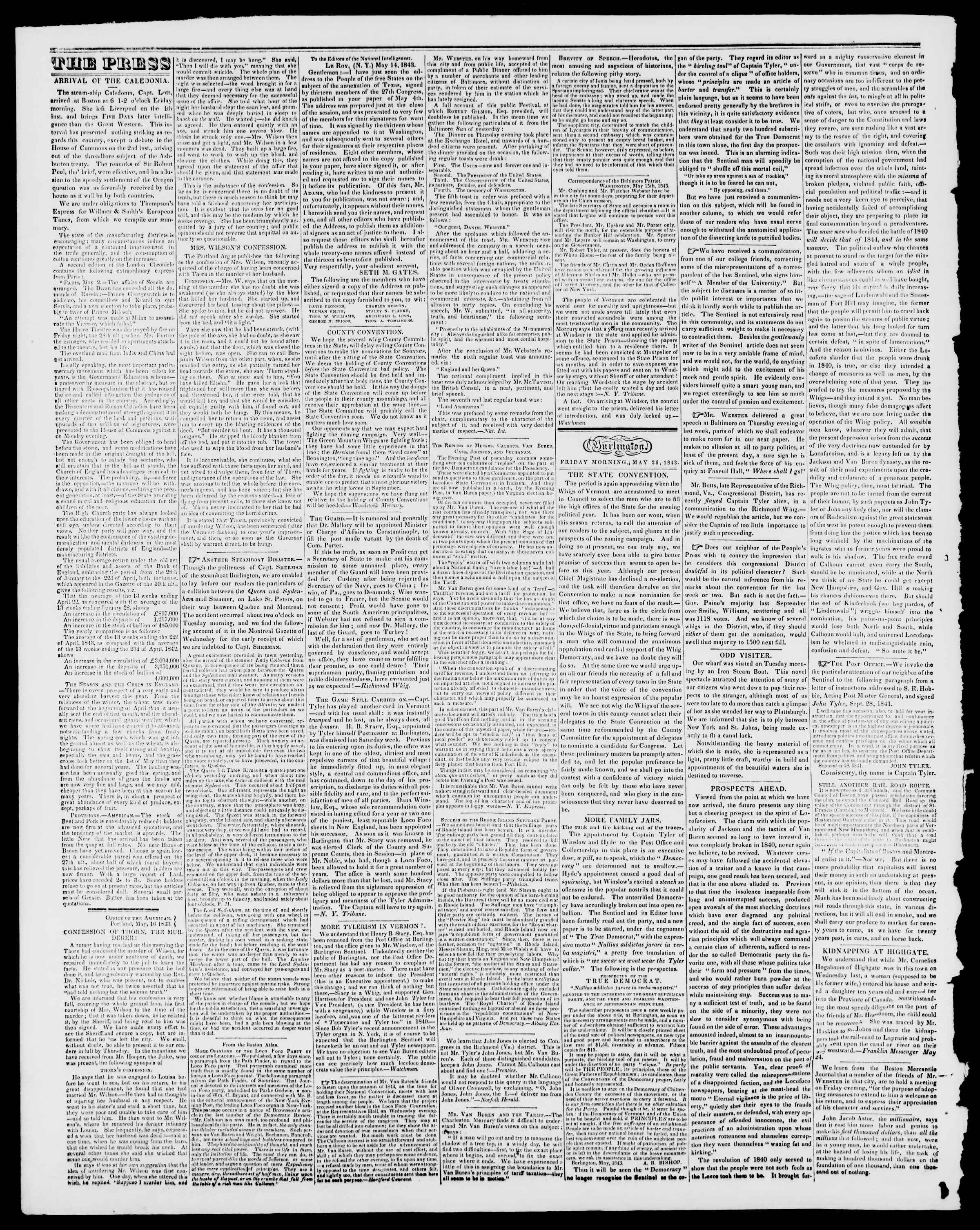 Newspaper of Burlington Free Press dated May 26, 1843 Page 2