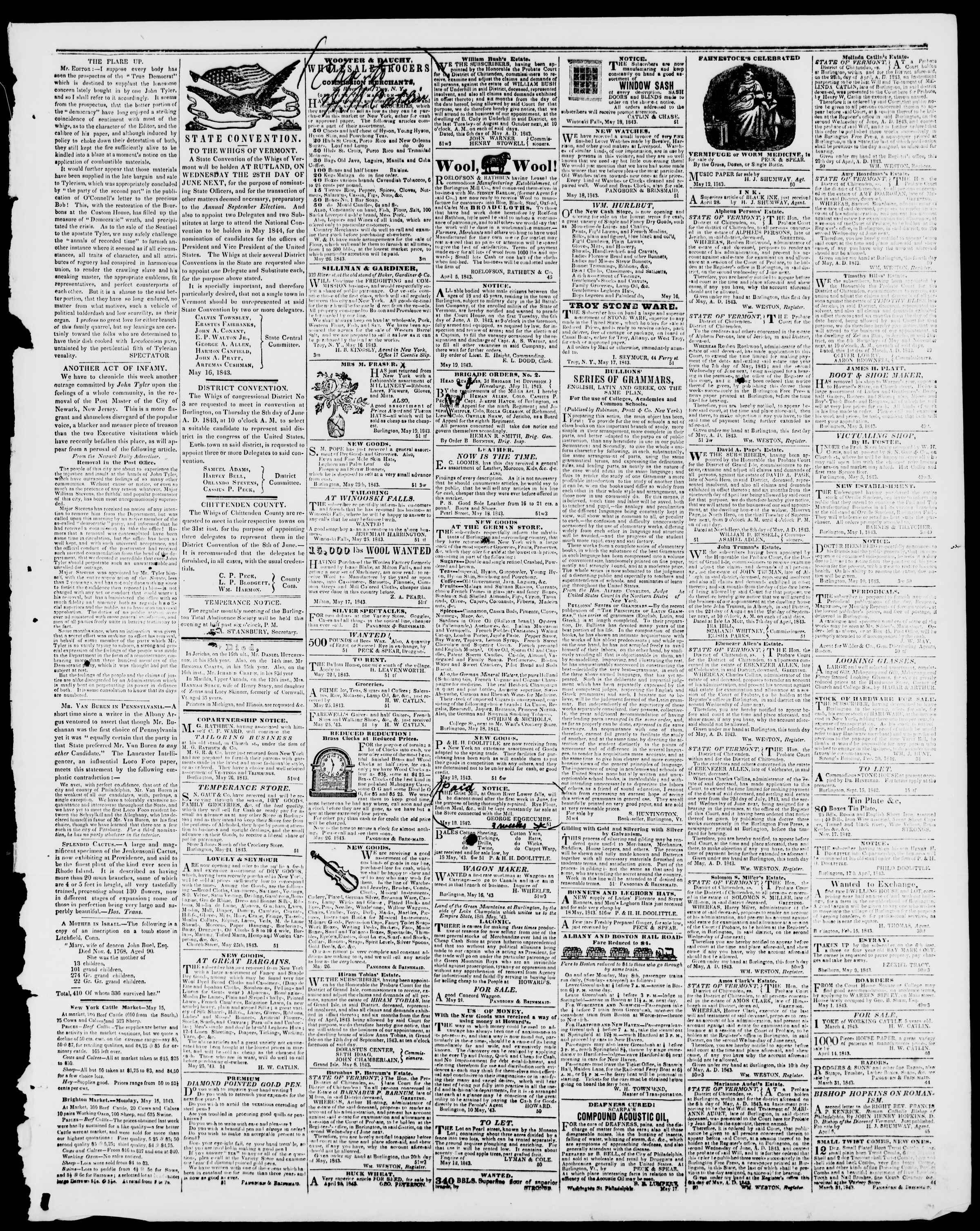 Newspaper of Burlington Free Press dated May 26, 1843 Page 3