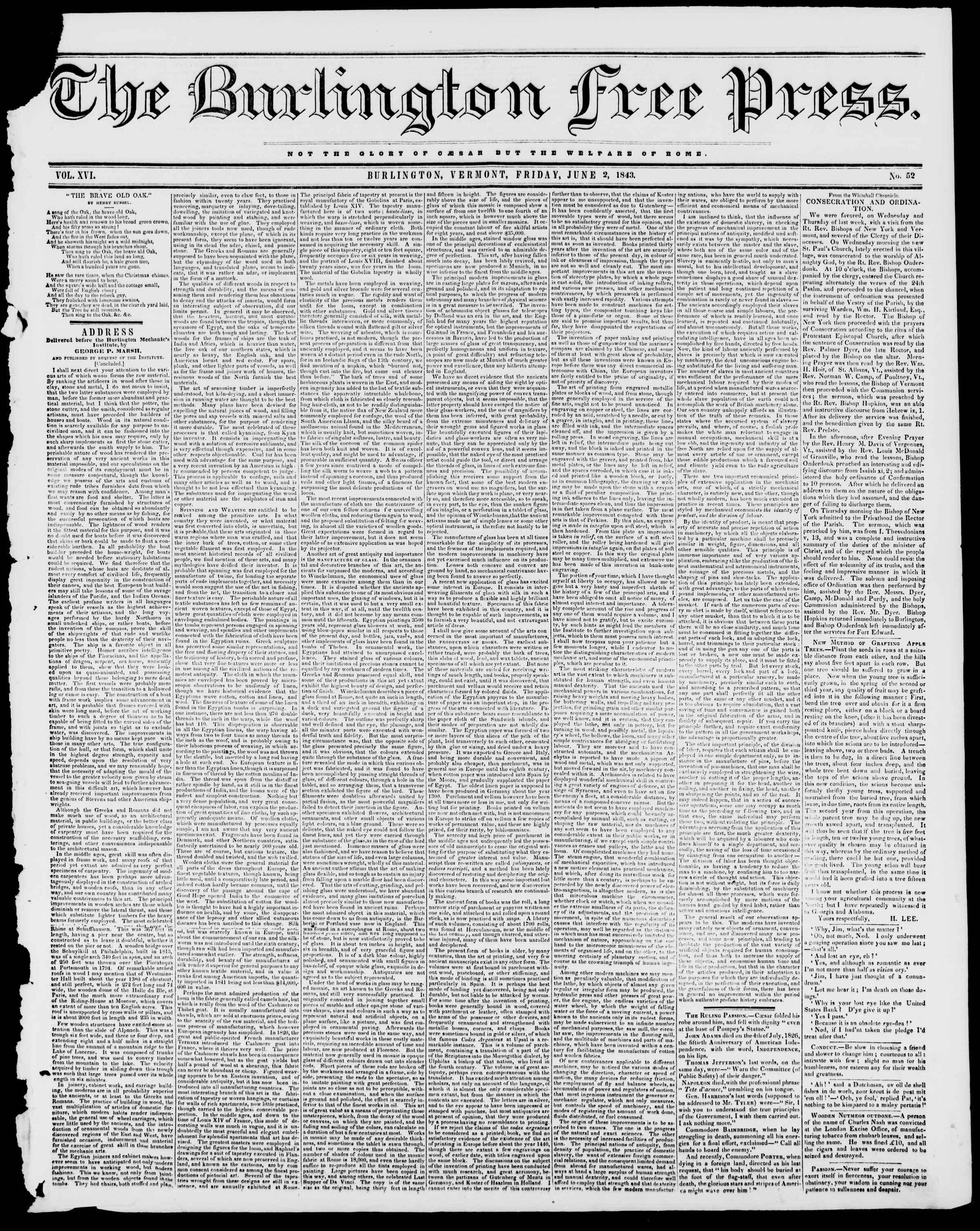 Newspaper of Burlington Free Press dated June 2, 1843 Page 1