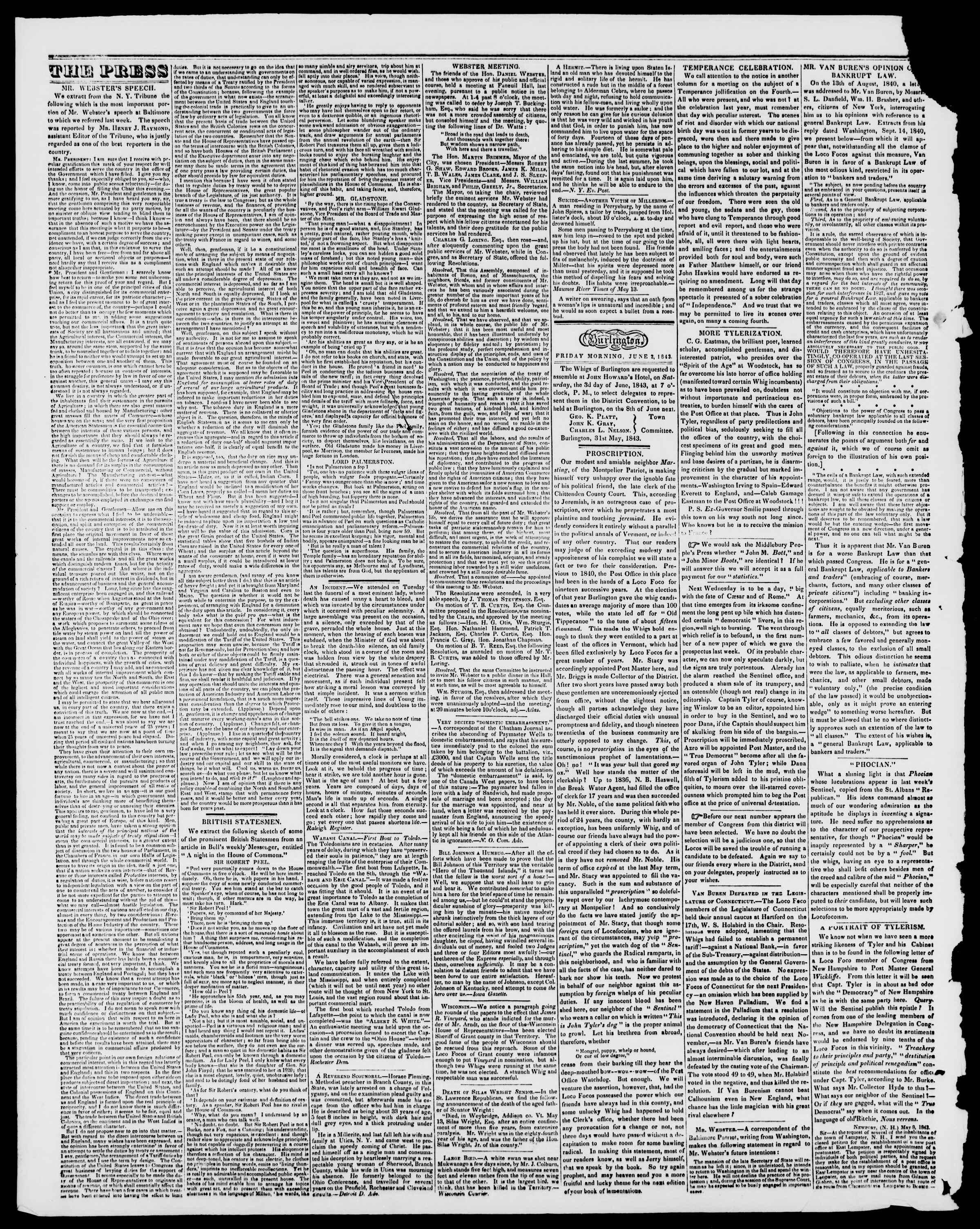 Newspaper of Burlington Free Press dated June 2, 1843 Page 2