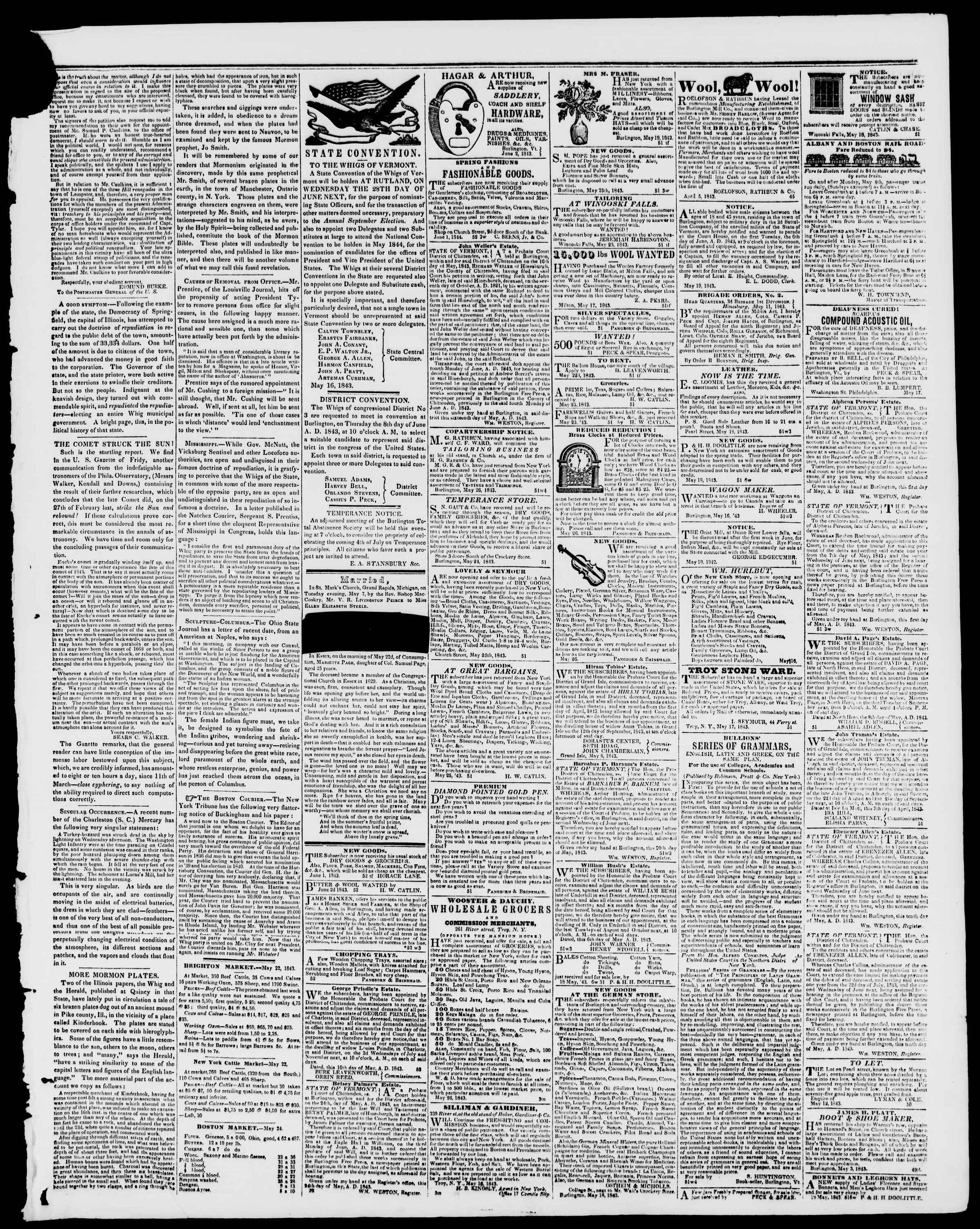 Newspaper of Burlington Free Press dated June 2, 1843 Page 3