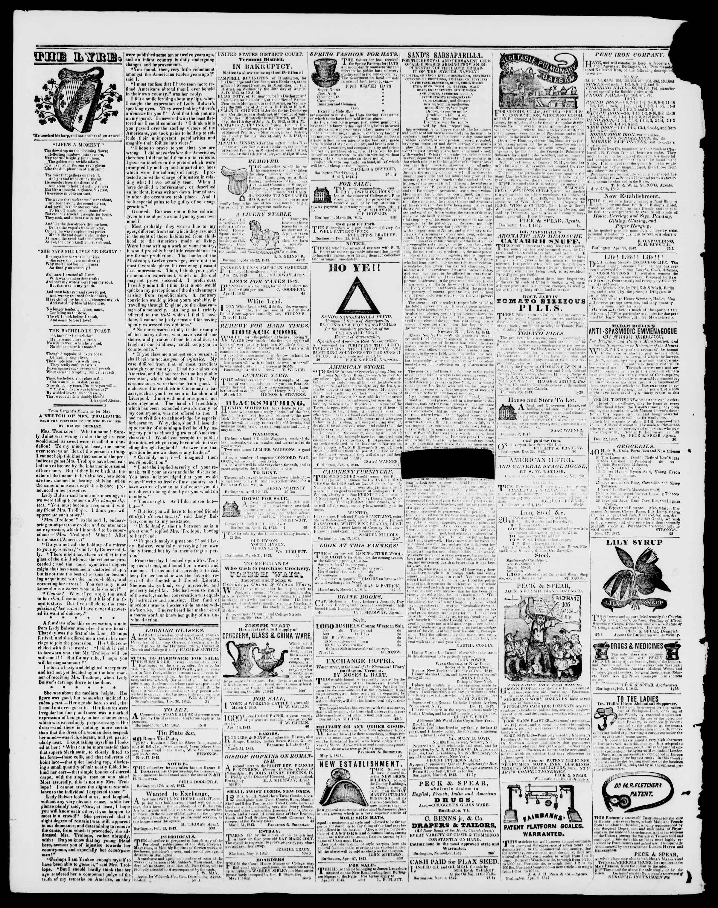 Newspaper of Burlington Free Press dated June 2, 1843 Page 4
