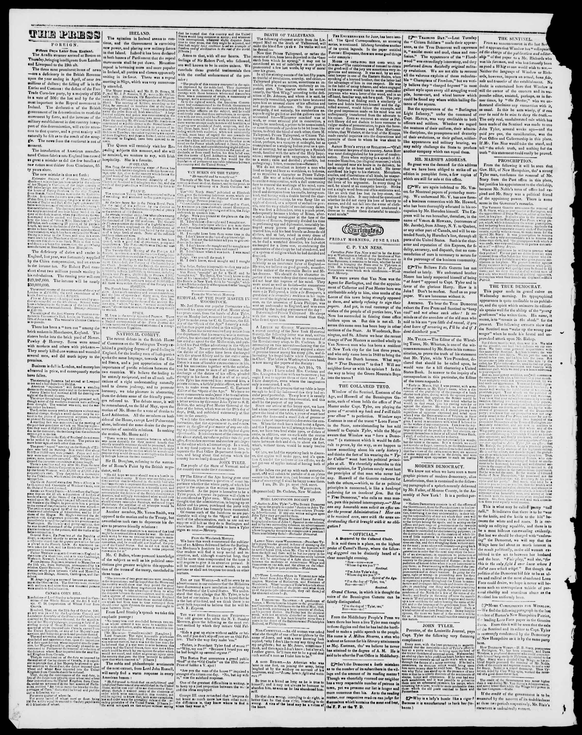 Newspaper of Burlington Free Press dated June 9, 1843 Page 2