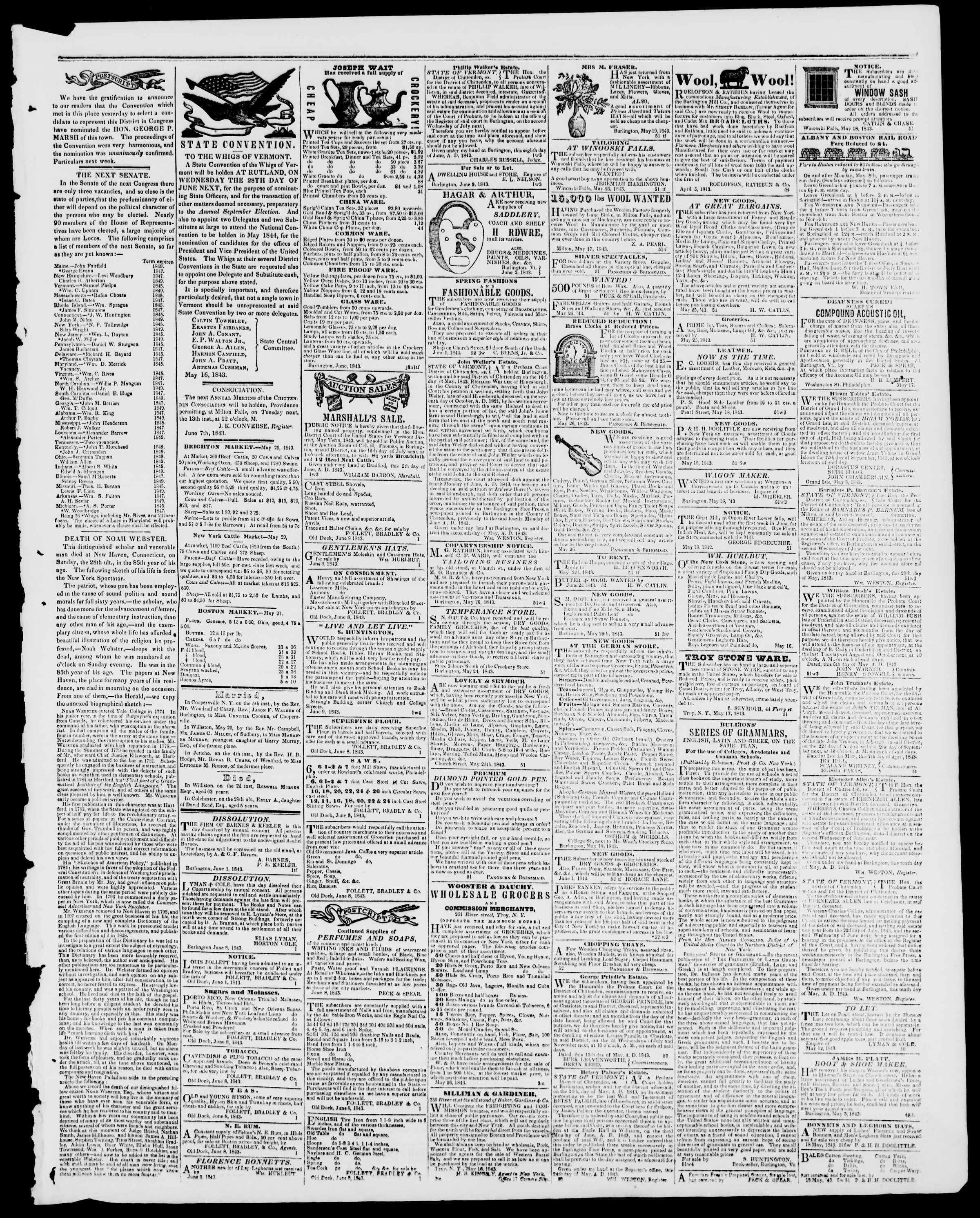 Newspaper of Burlington Free Press dated June 9, 1843 Page 3