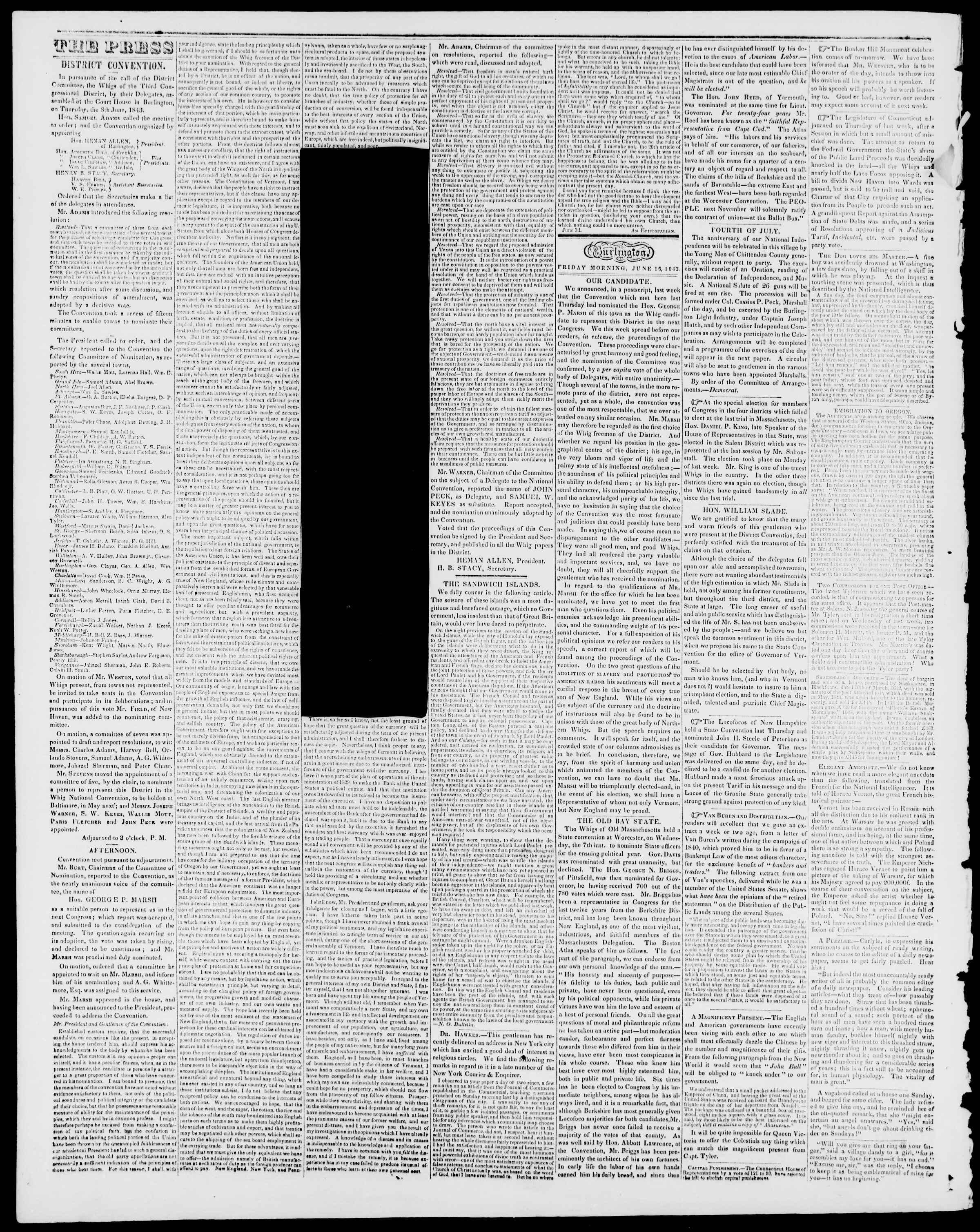 Newspaper of Burlington Free Press dated June 16, 1843 Page 2