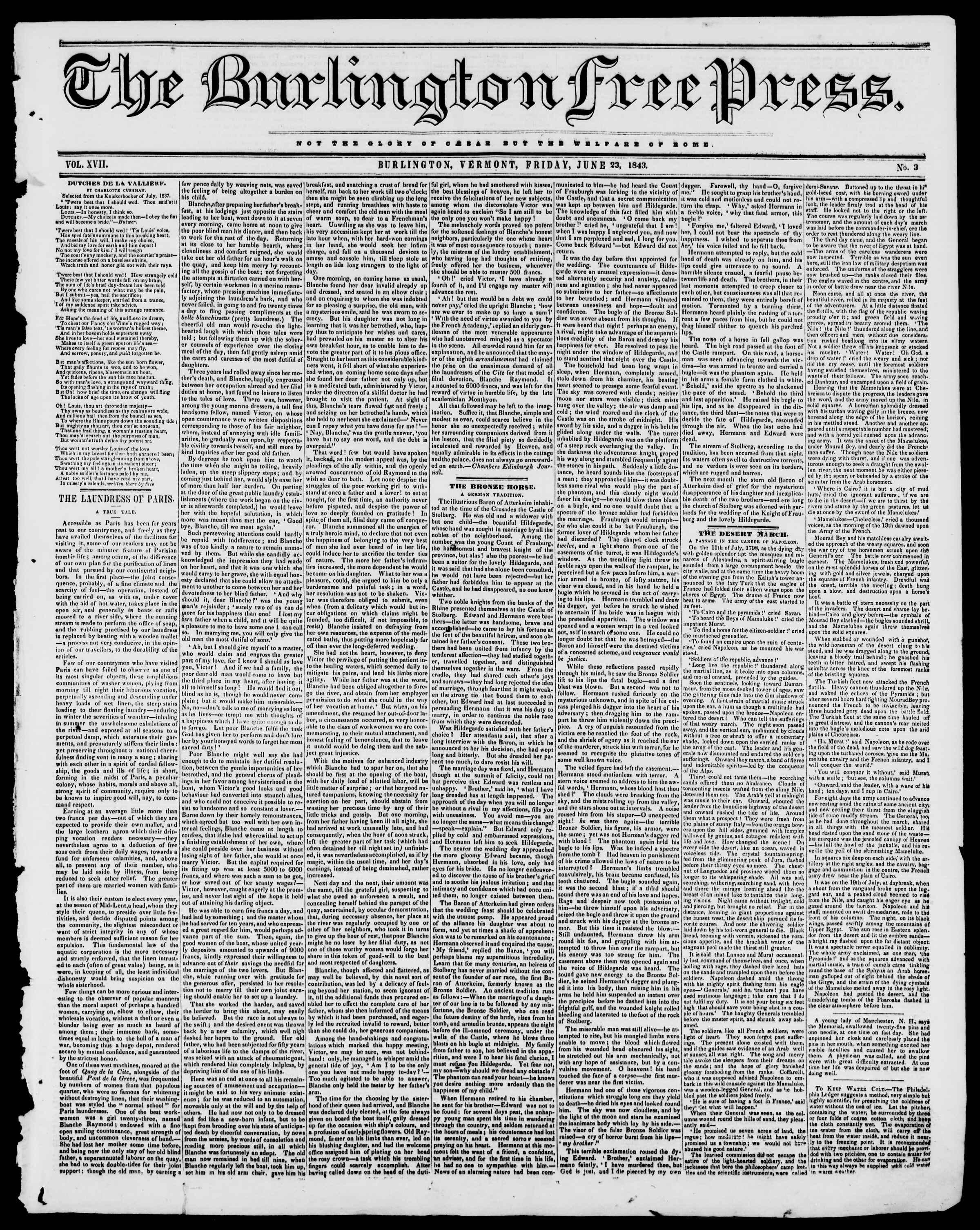 Newspaper of Burlington Free Press dated June 23, 1843 Page 1