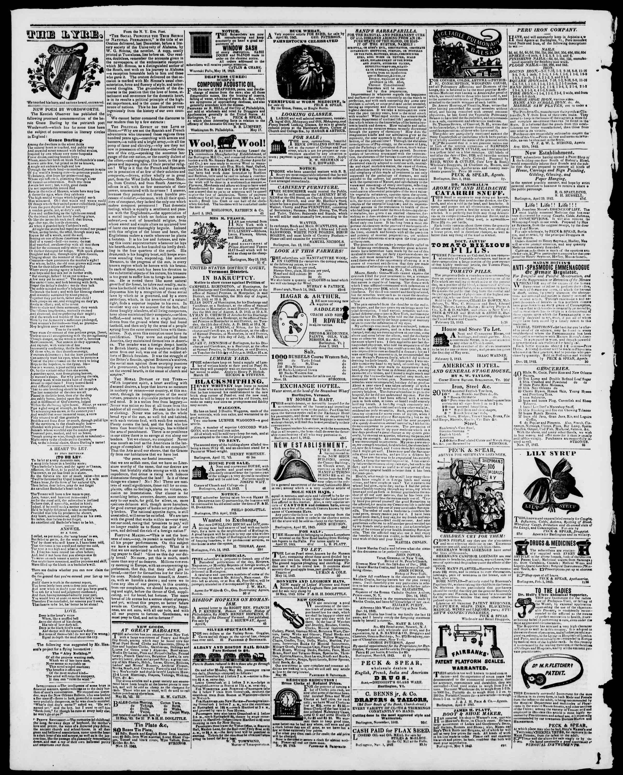 Newspaper of Burlington Free Press dated June 23, 1843 Page 4