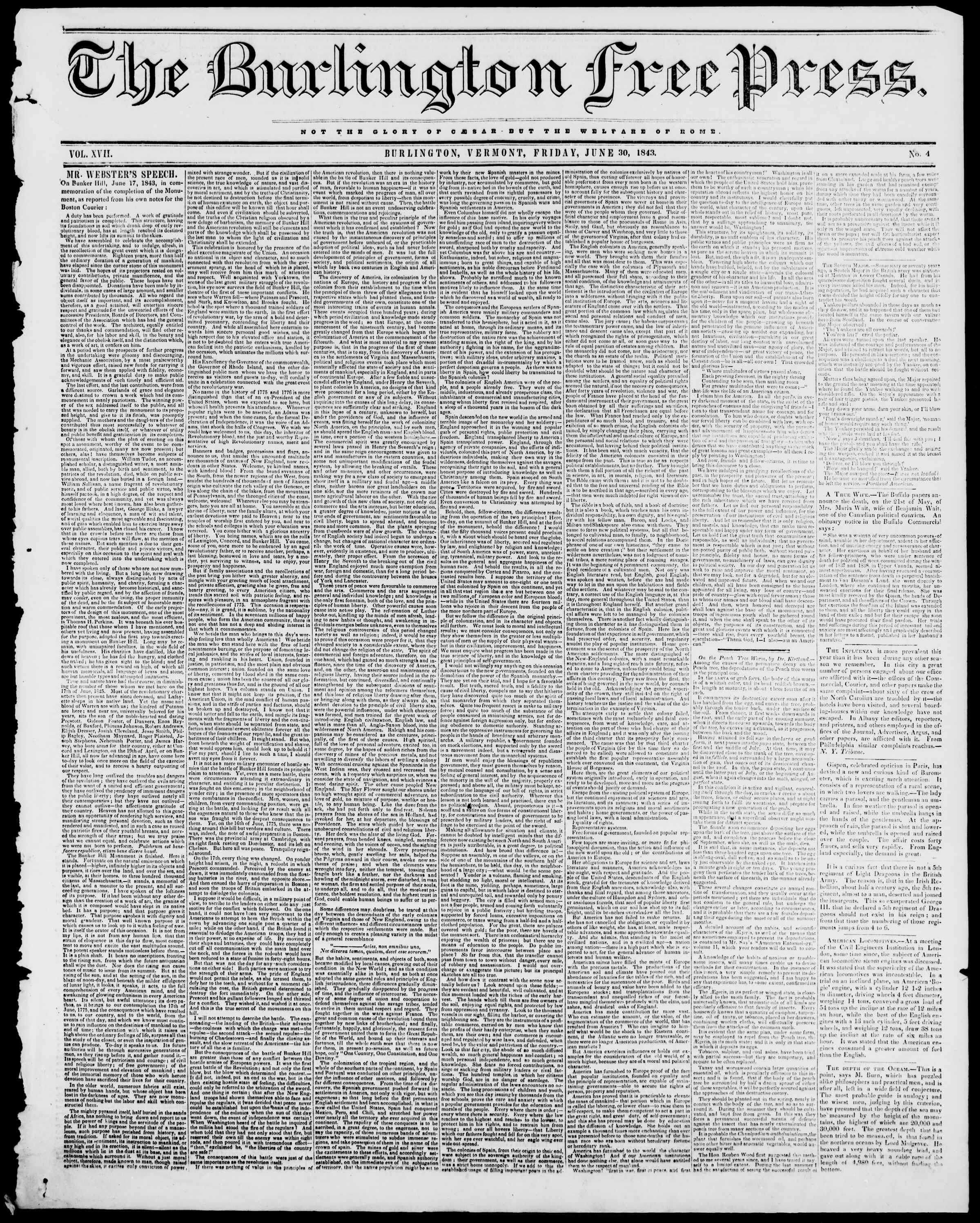 Newspaper of Burlington Free Press dated June 30, 1843 Page 1