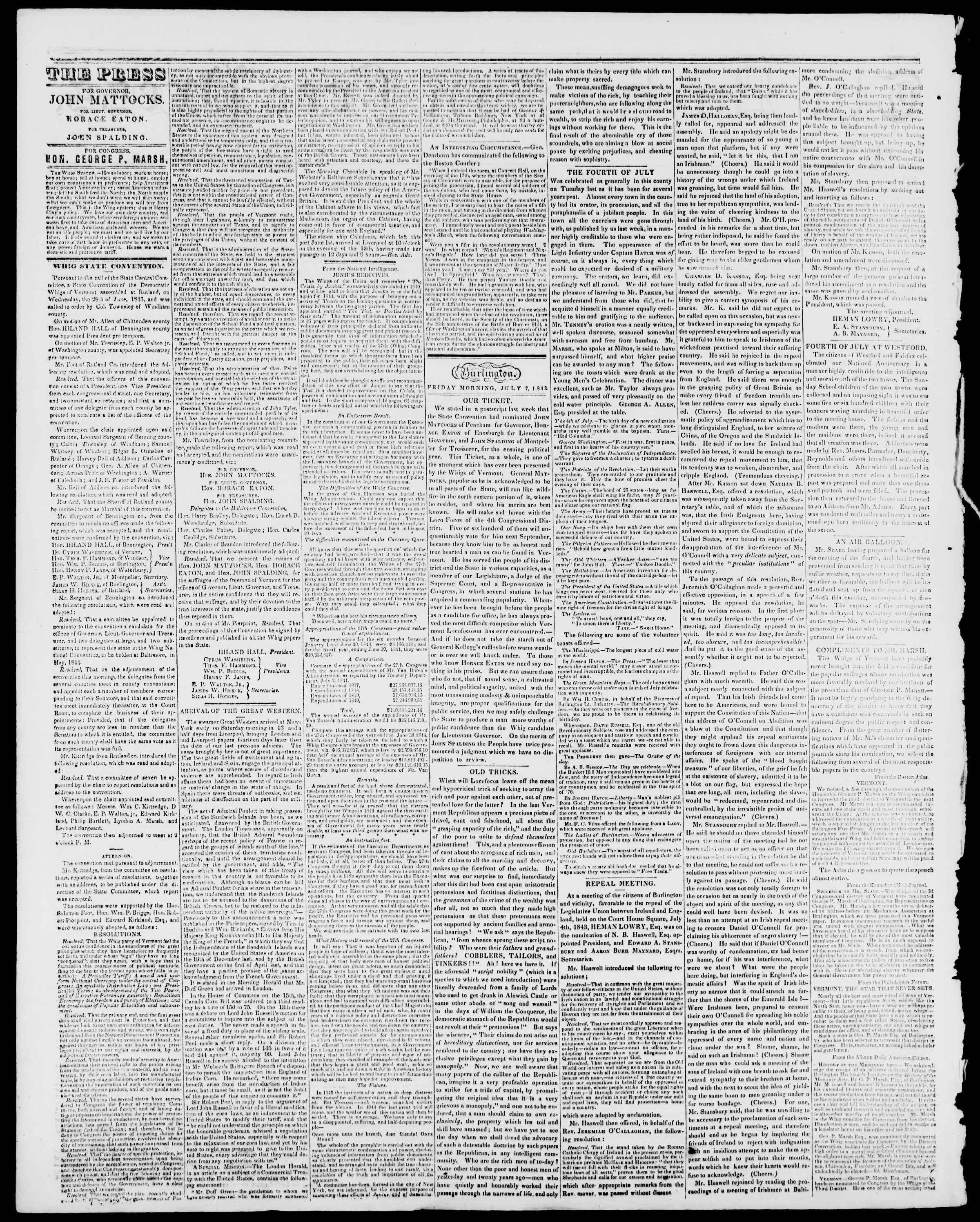Newspaper of Burlington Free Press dated July 7, 1843 Page 2