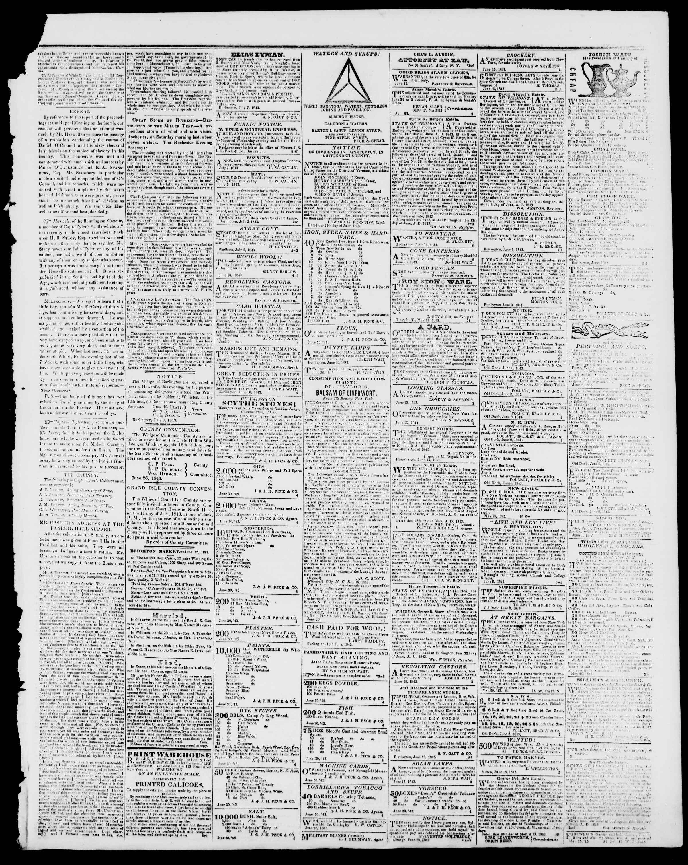 Newspaper of Burlington Free Press dated July 7, 1843 Page 3
