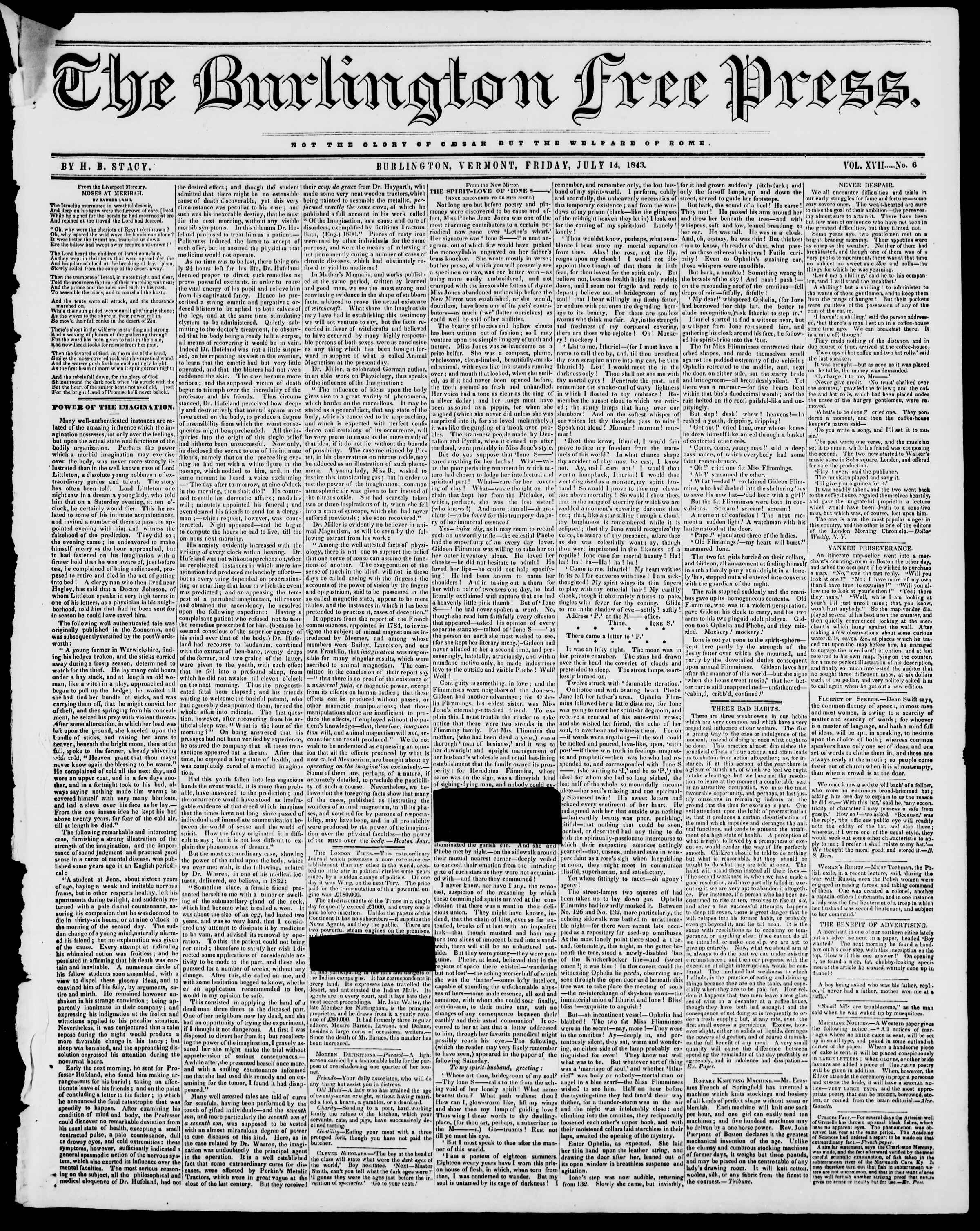 Newspaper of Burlington Free Press dated July 14, 1843 Page 1